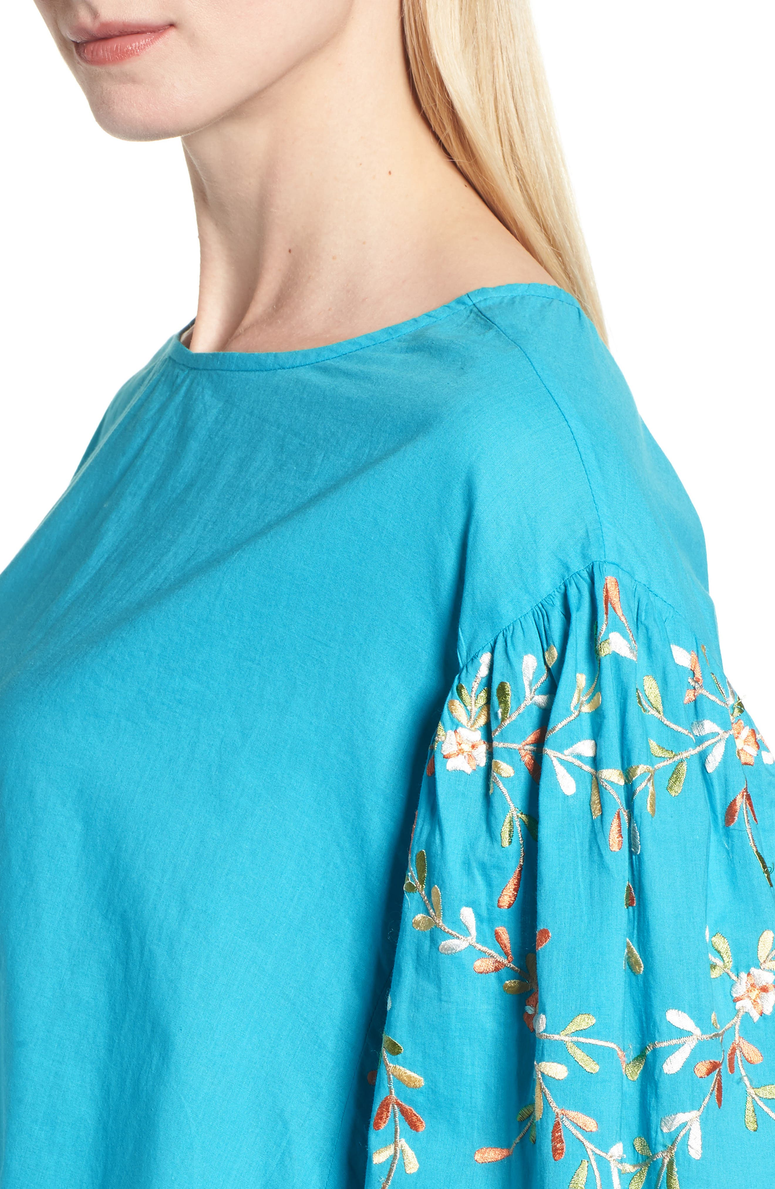 Coline Front Tie Embroidered Sleeve Blouse,                             Alternate thumbnail 4, color,                             440