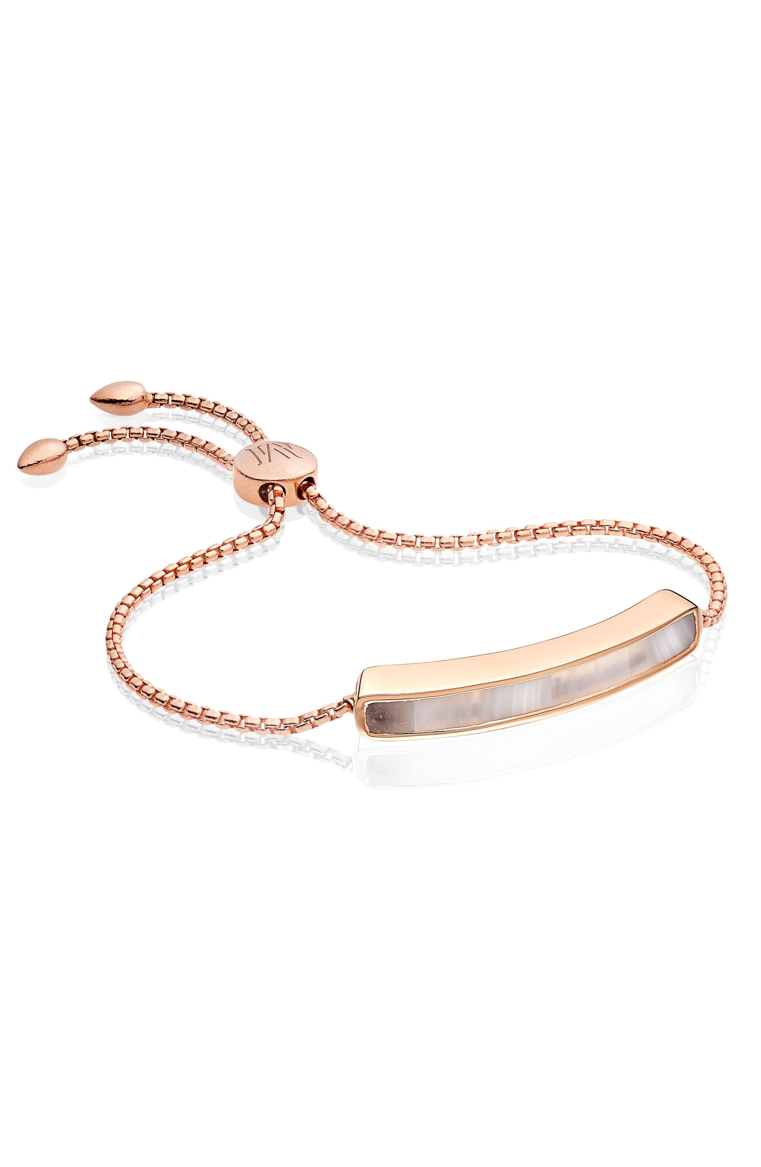MONICA VINADER,                             Engravable Baja Stone Bracelet,                             Alternate thumbnail 4, color,                             ROSE GOLD/ GREY