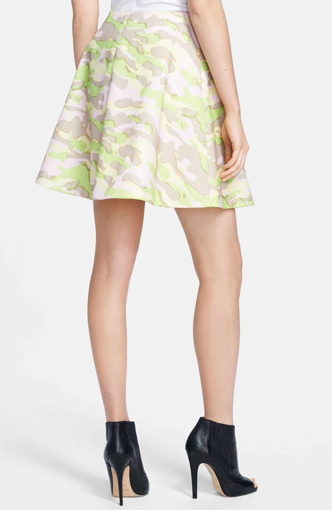 CARVEN,                             Army Print Flared Skirt,                             Alternate thumbnail 3, color,                             680