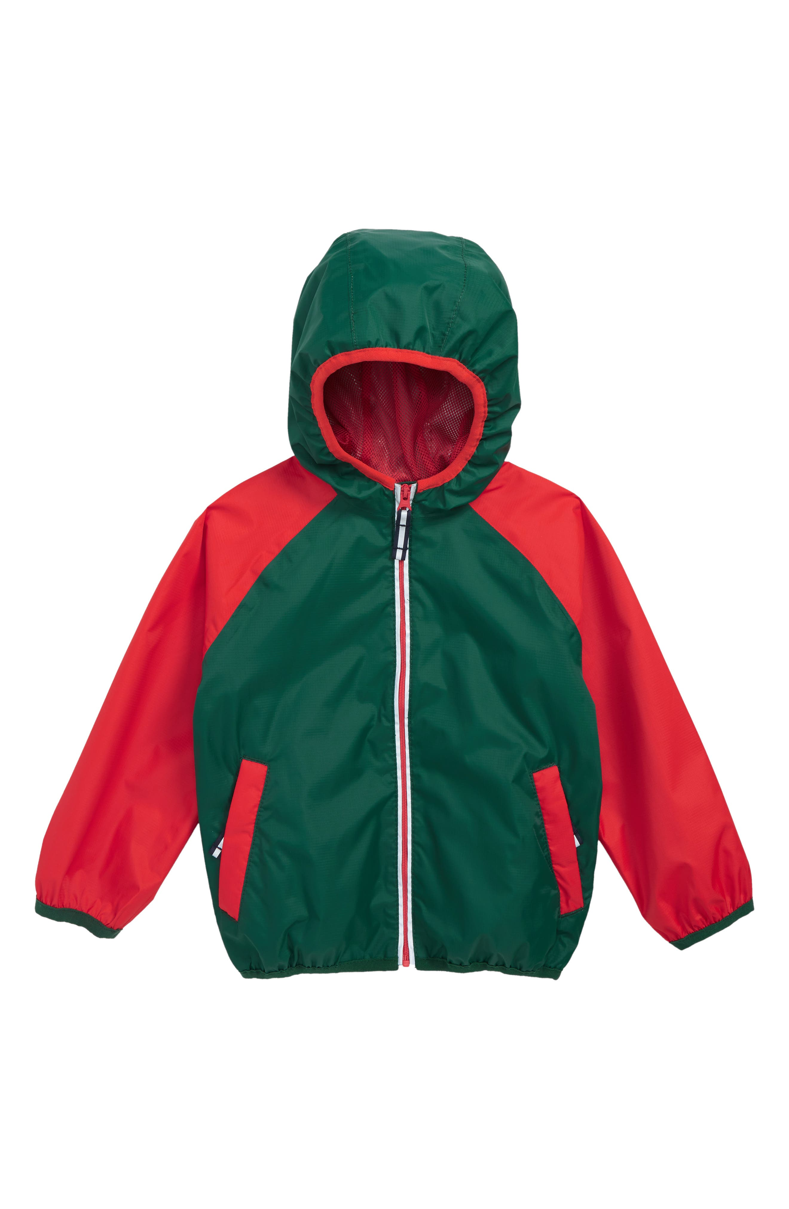 Packaway Rain Jacket,                             Main thumbnail 1, color,                             SCOTTS PINE GREEN/ SALSA RED