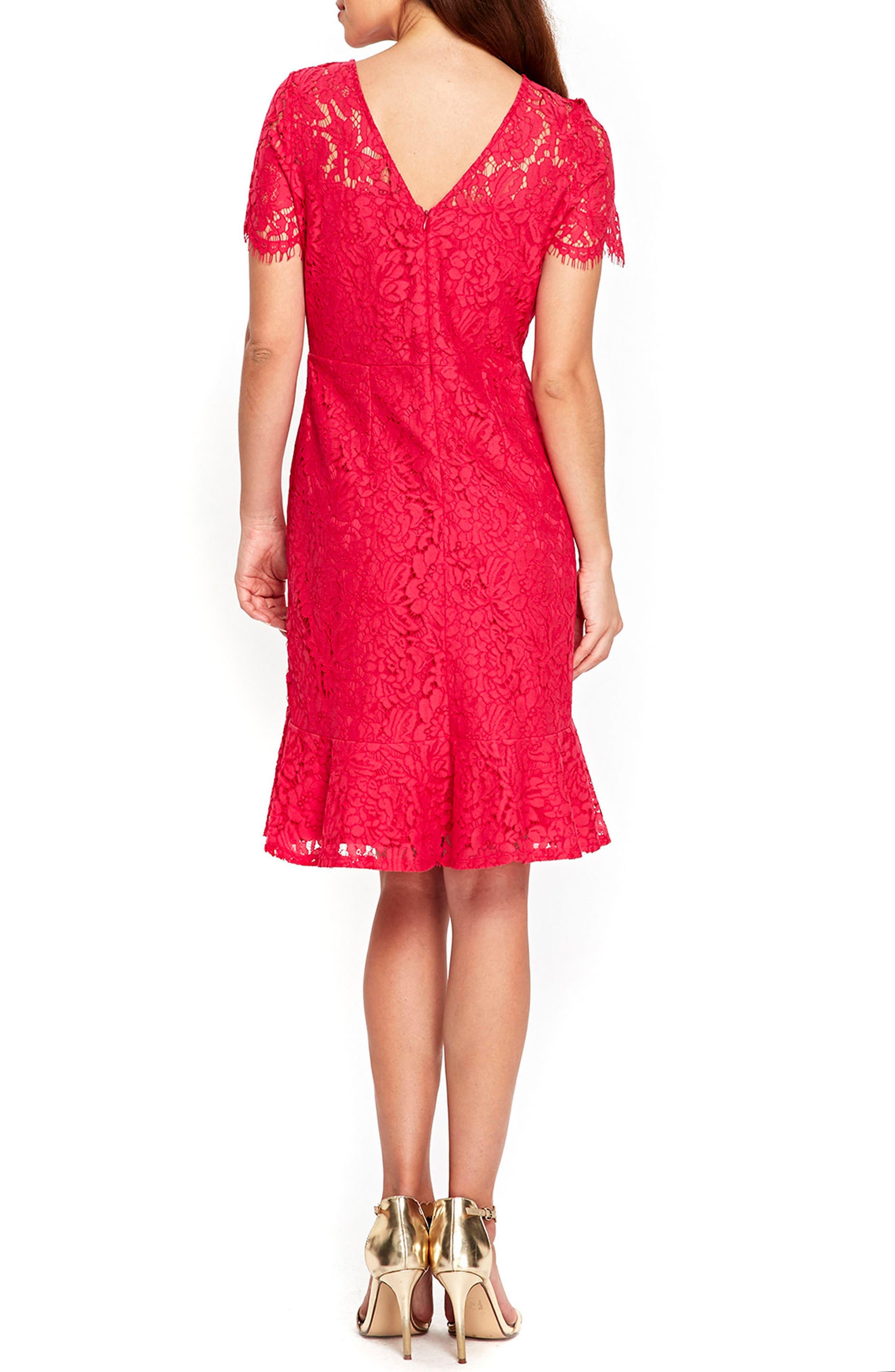 Lace Peplum Hem Dress,                             Alternate thumbnail 2, color,                             650