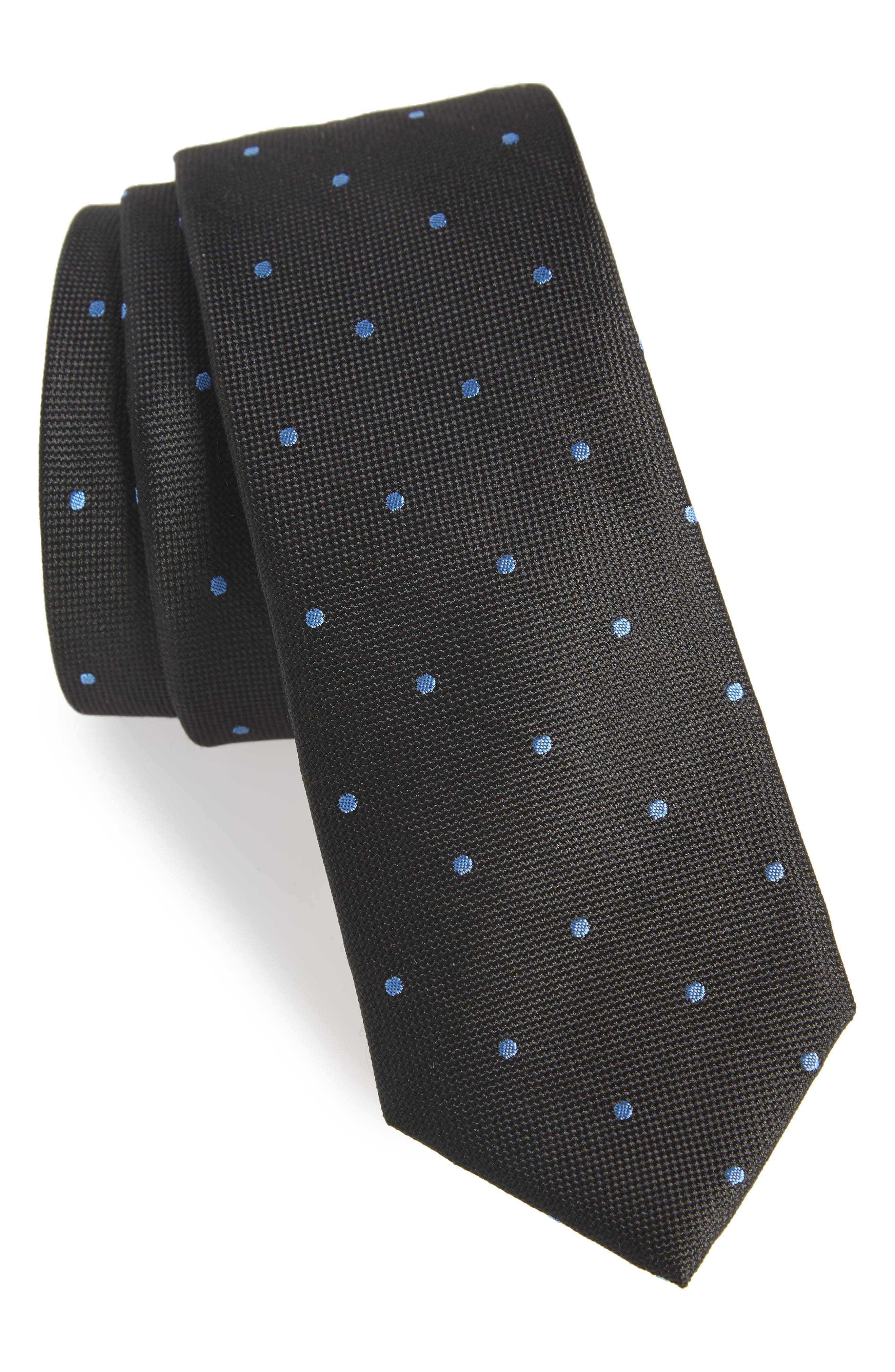 Arnet Dot Skinny Silk Tie,                             Main thumbnail 1, color,                             001