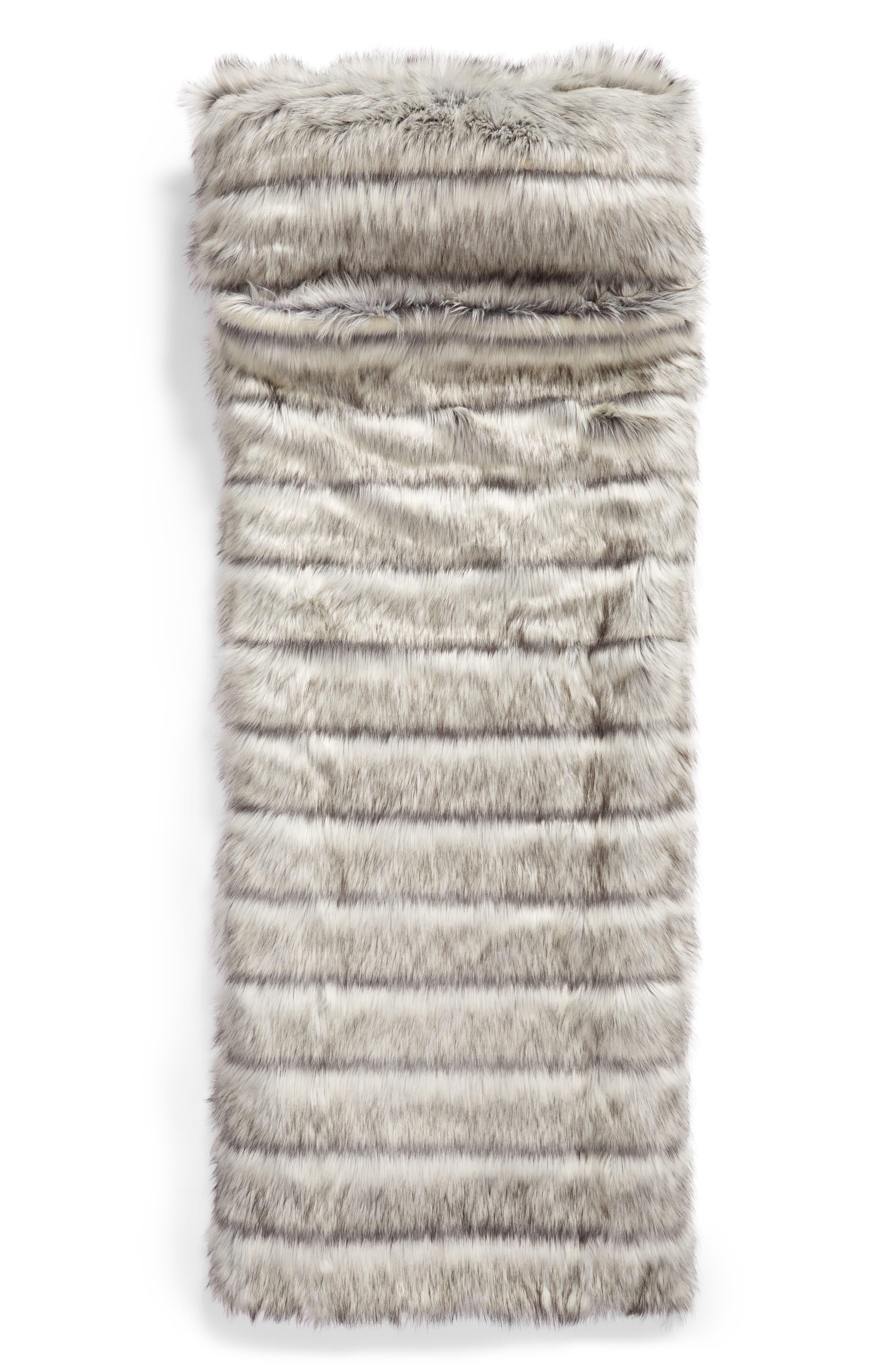 Luxe Faux Fur Slumber Bag,                         Main,                         color, GREY FROST MULTI