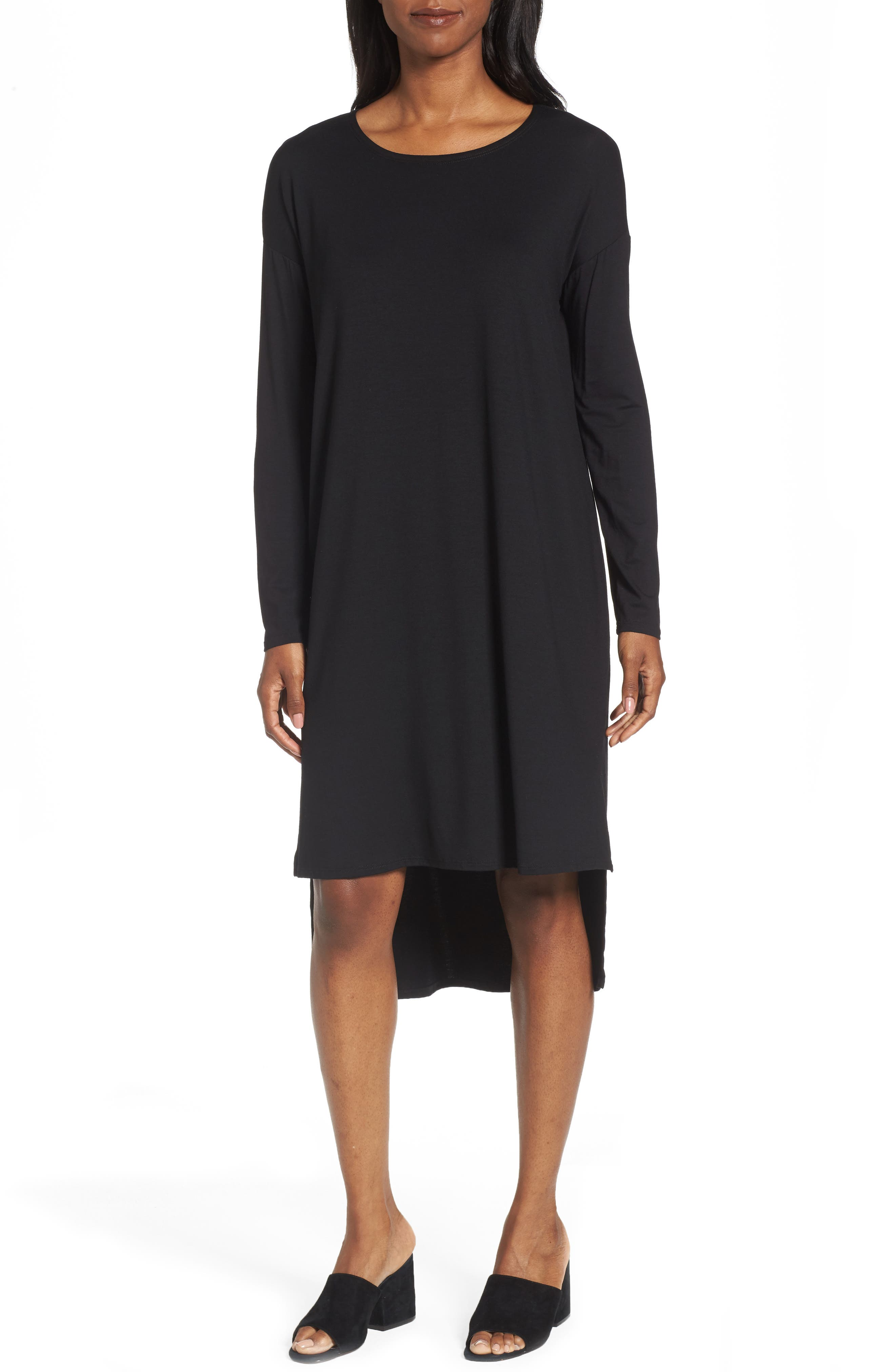 High/Low Jersey Shift Dress,                             Main thumbnail 1, color,                             001