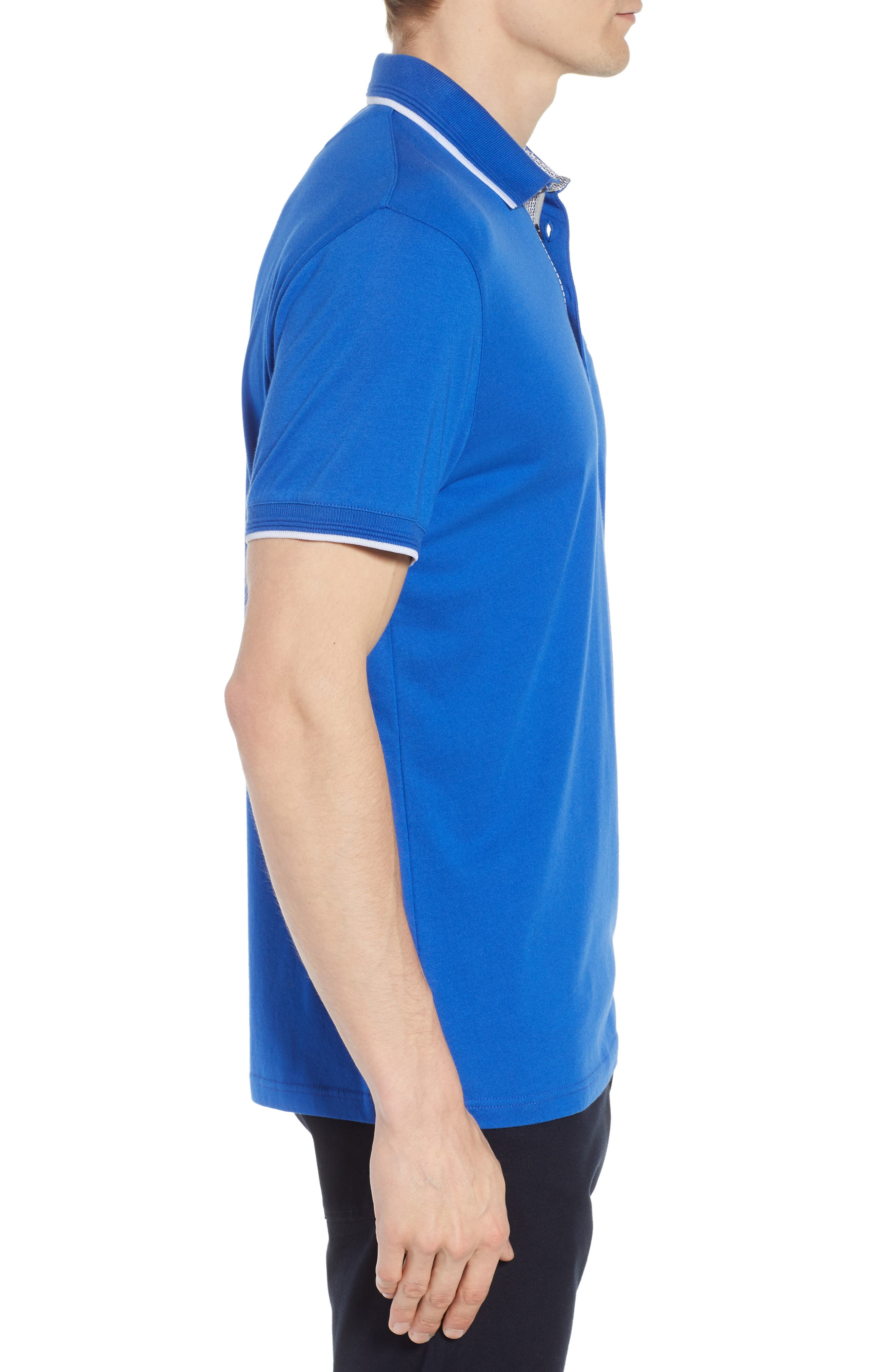 Derry Modern Slim Fit Polo,                             Alternate thumbnail 3, color,                             BRIGHT BLUE