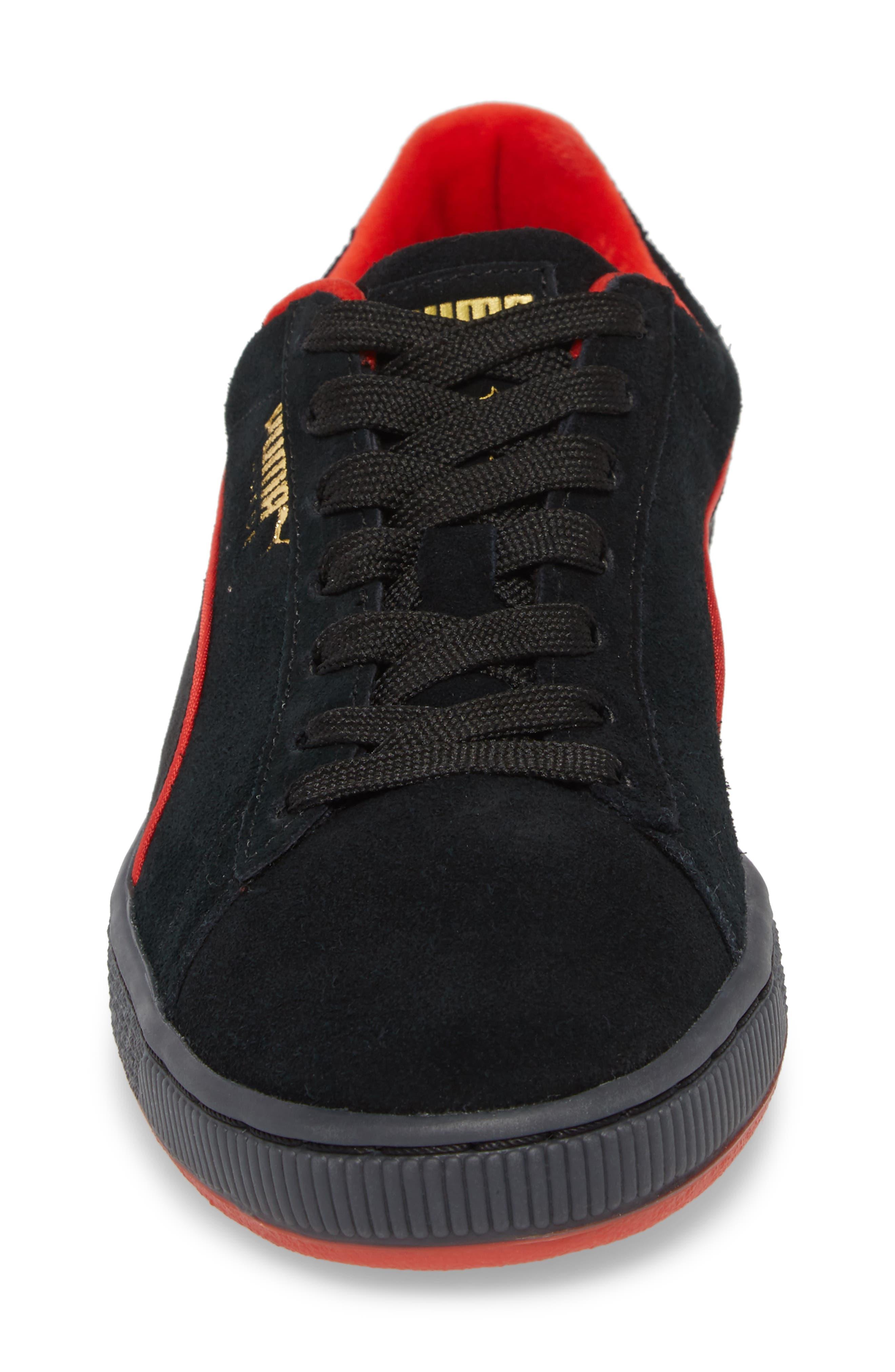 x FUBU Suede Classic Sneaker,                             Alternate thumbnail 4, color,                             001