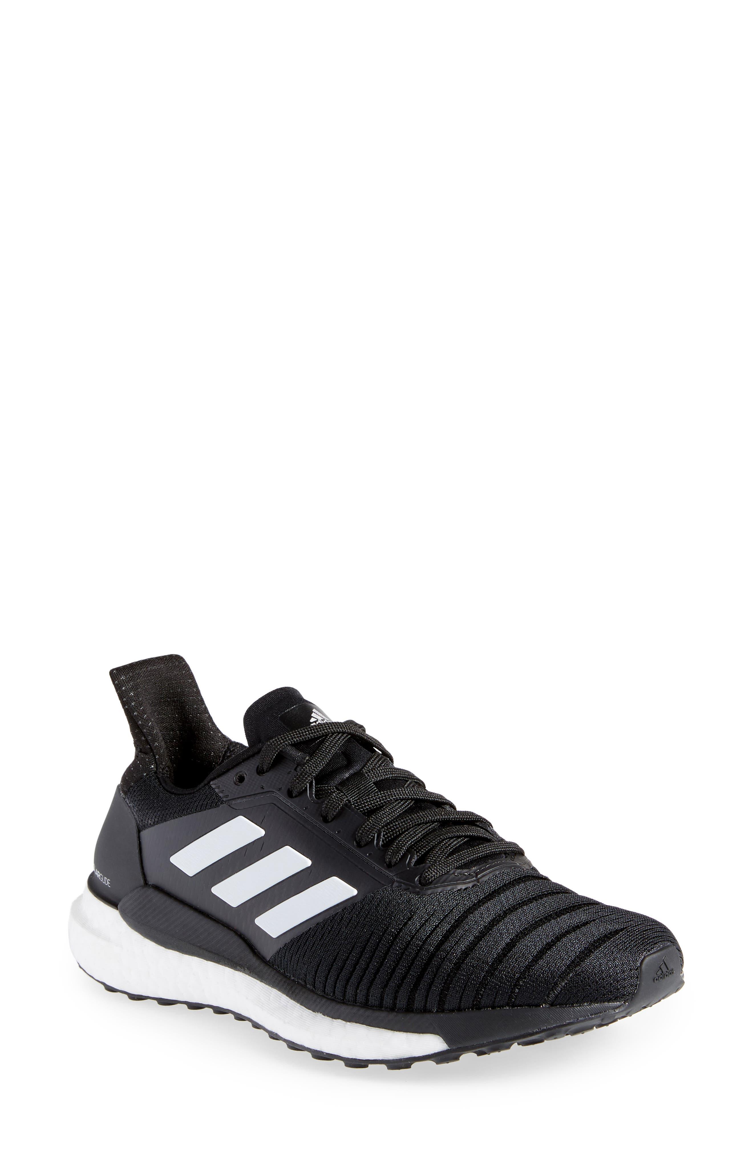 Solar Glide Running Shoe,                         Main,                         color, BLACK/ WHITE/ BLACK