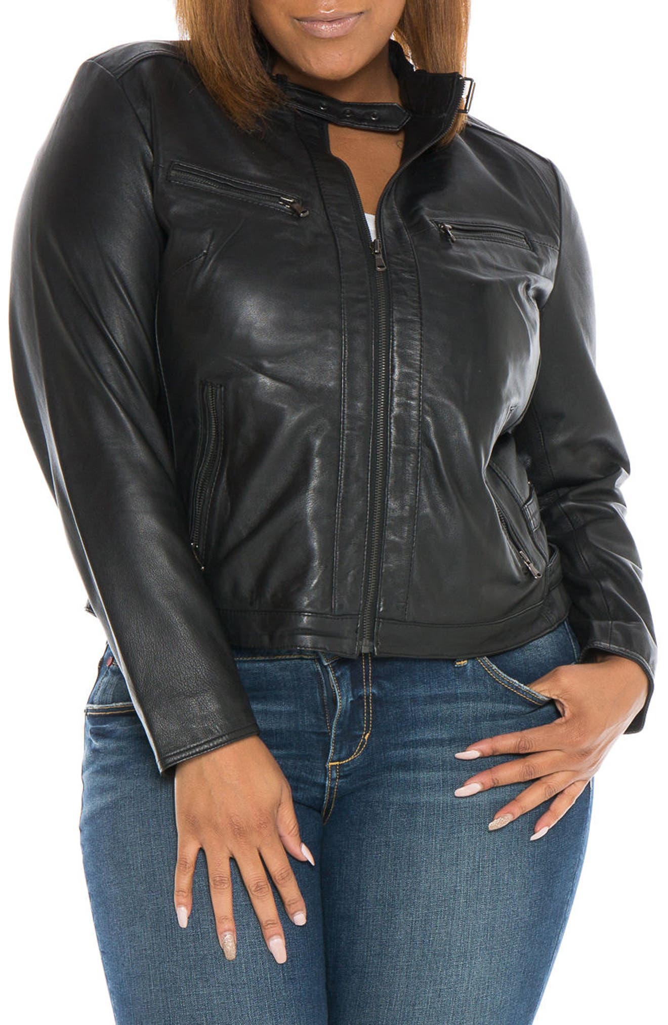 Fitted Leather Moto Jacket,                         Main,                         color, BLACK