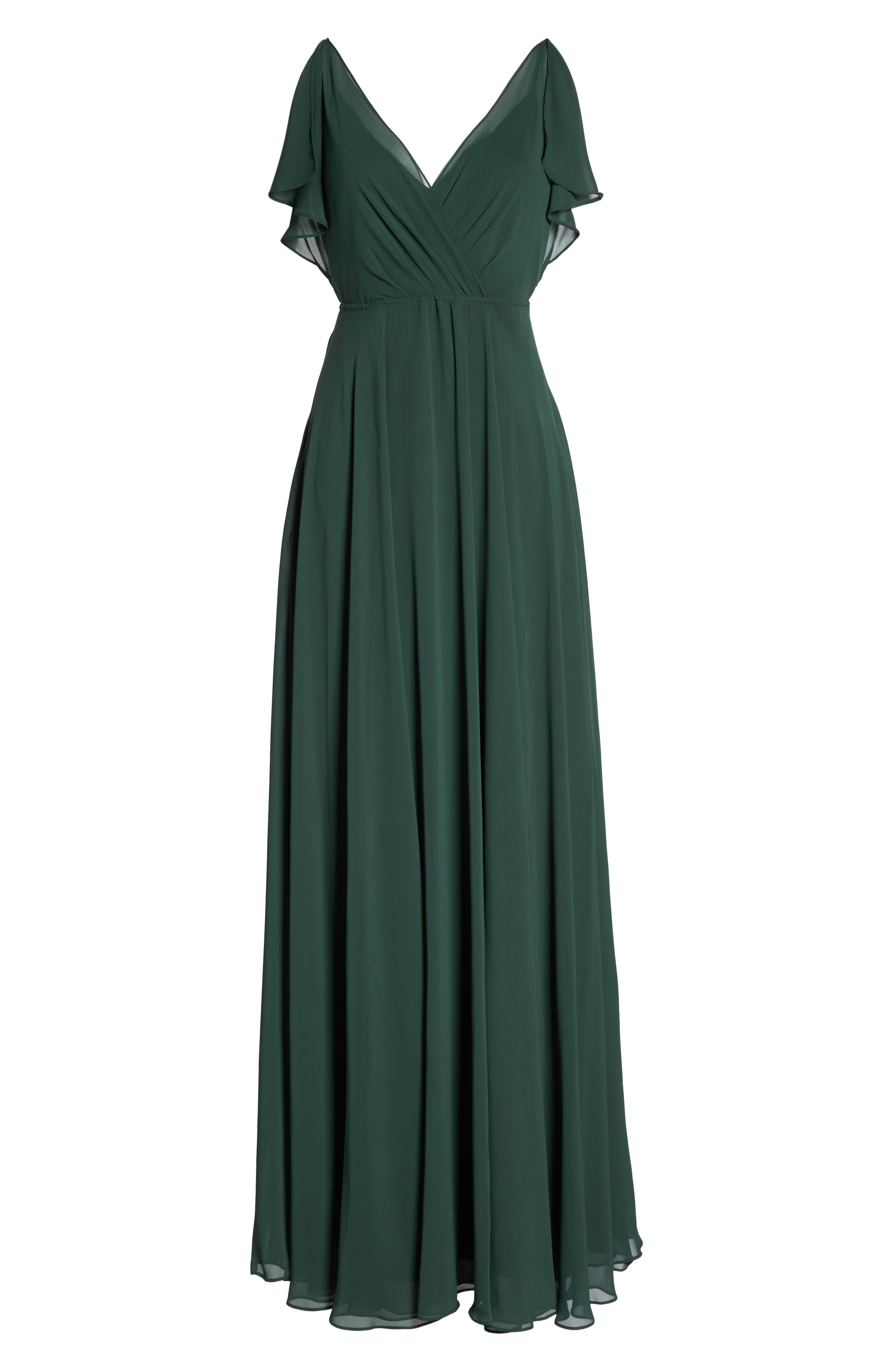 Cassie Flutter Sleeve Chiffon A-Line Gown,                             Alternate thumbnail 6, color,                             308