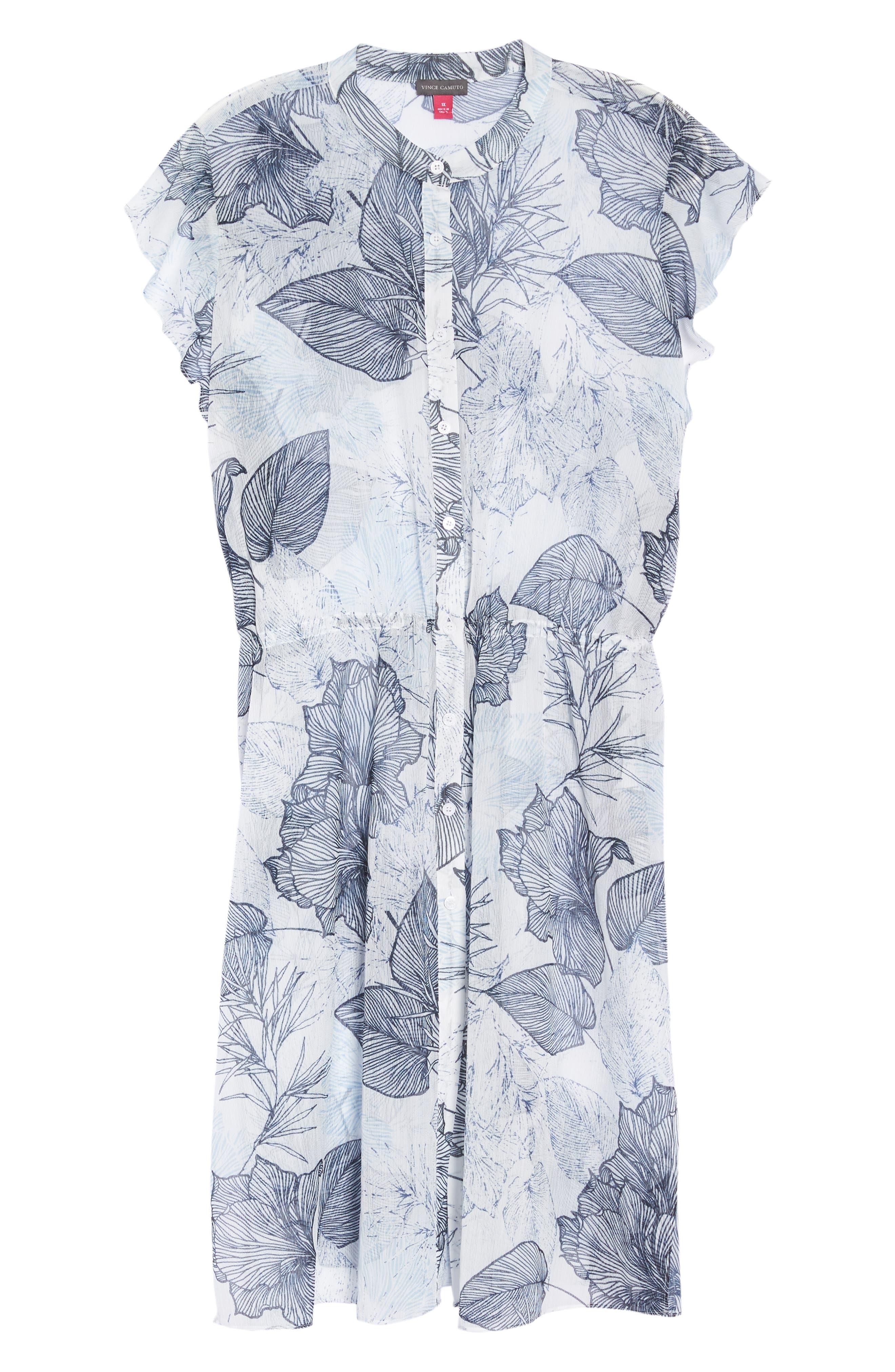 Flutter Sleeve Floral Chiffon Shirt Tunic,                             Alternate thumbnail 7, color,                             145