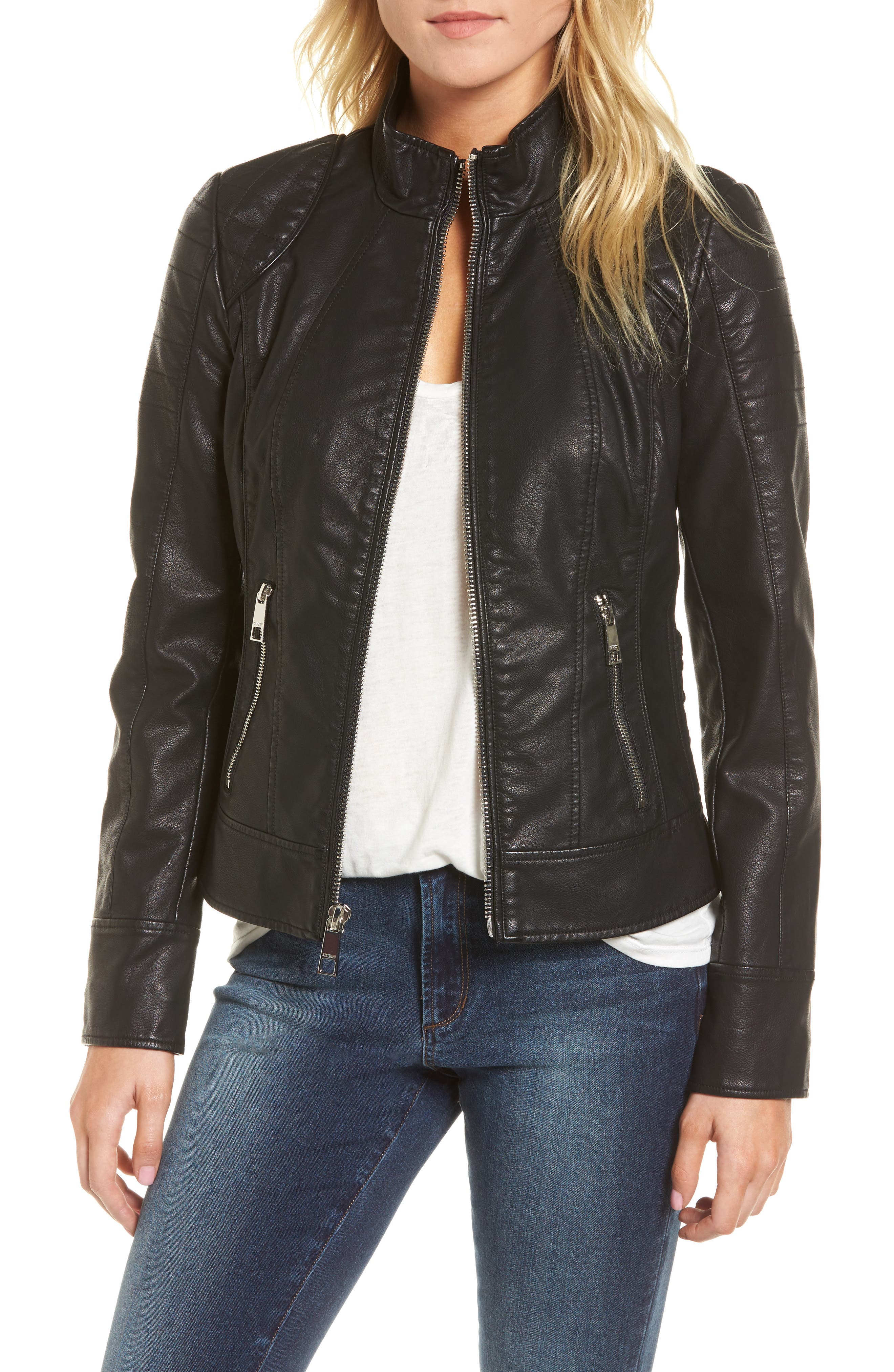 GUESS Side Lace Faux Leather Jacket, Main, color, 001