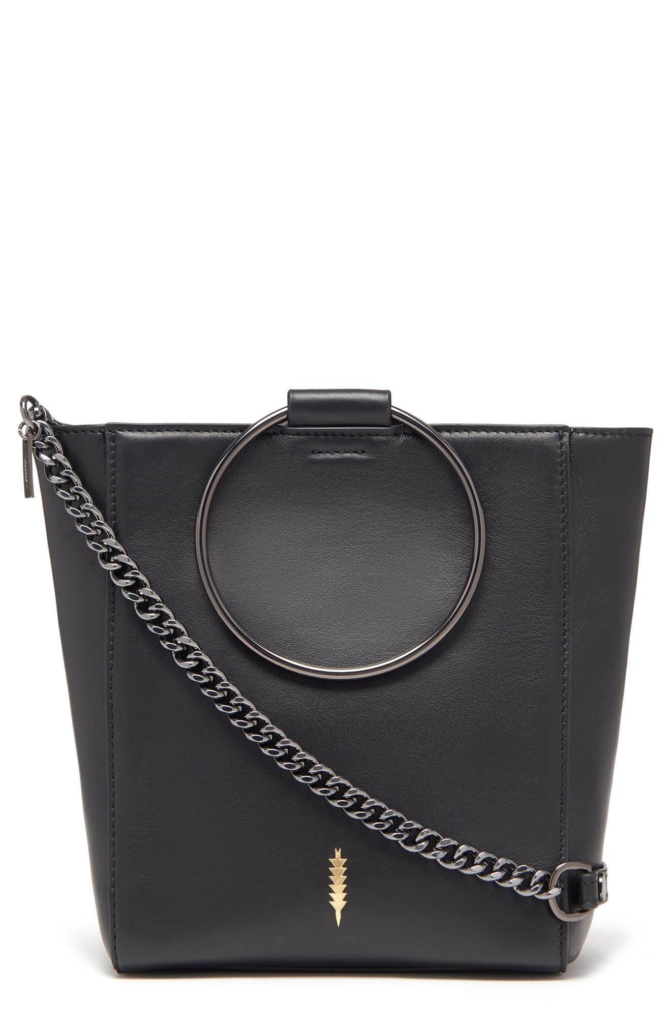 THACKER,                             Le Bucket Leather Bag,                             Main thumbnail 1, color,                             BLACK/ GUNMETAL