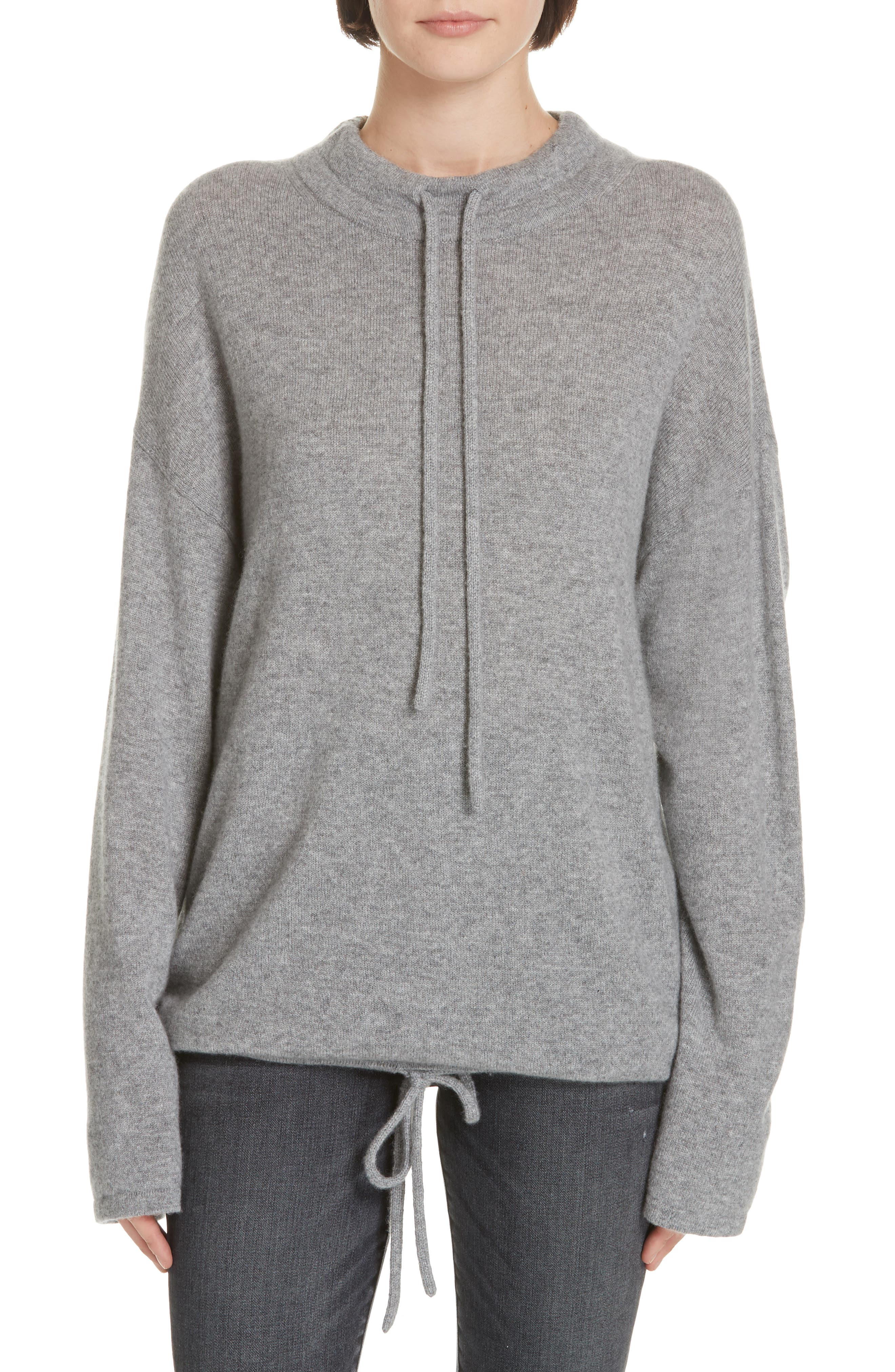 Theory Drawstring Detail Cashmere Sweater, Grey