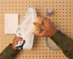 Watch the how to clean leather sneakers video.