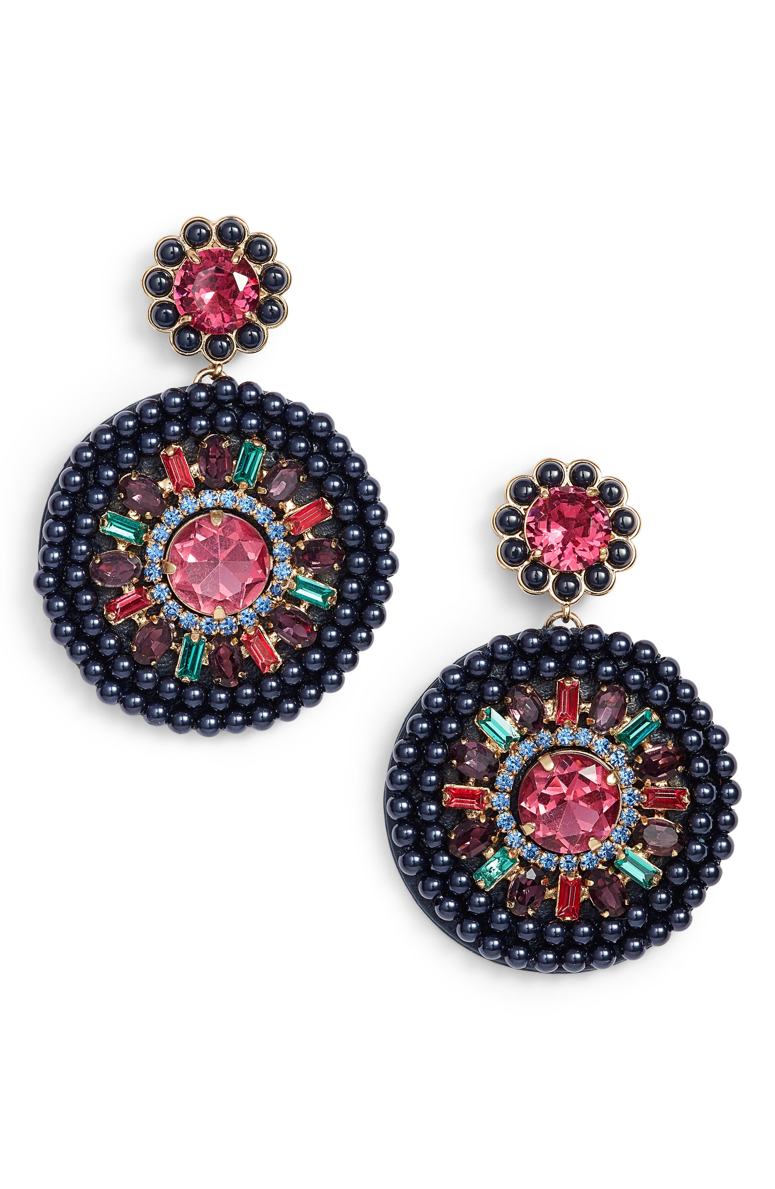 luminous leather statement earrings,                             Main thumbnail 2, color,