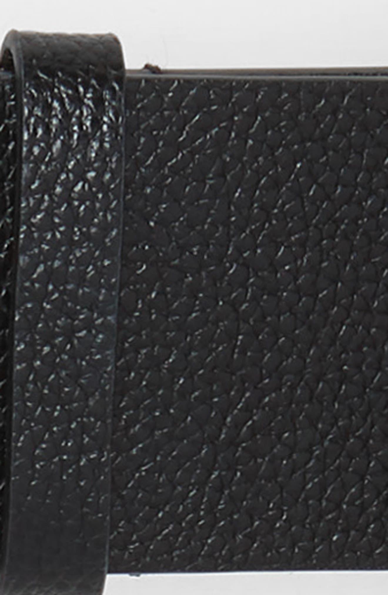 Suede Fringe Leather Belt,                             Alternate thumbnail 3, color,                             BLACK/ POL SILVER
