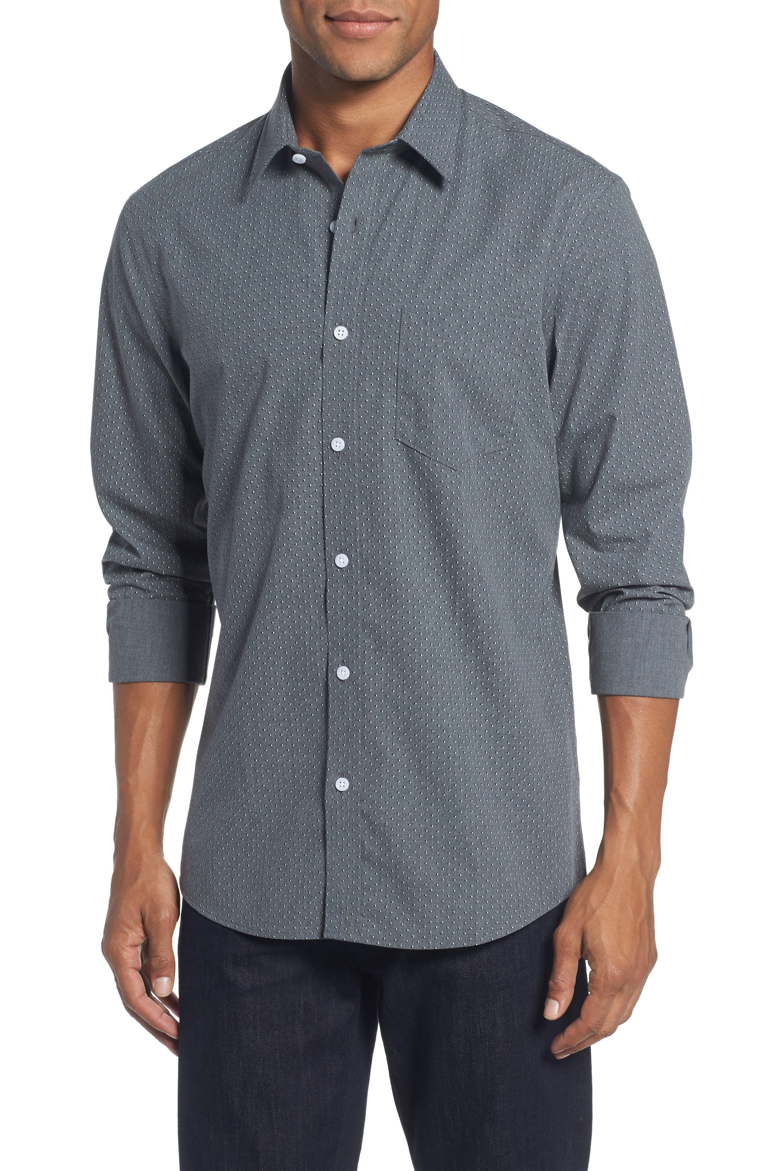 Trim Fit Non-Iron Dot Print Sport Shirt,                         Main,                         color, 030