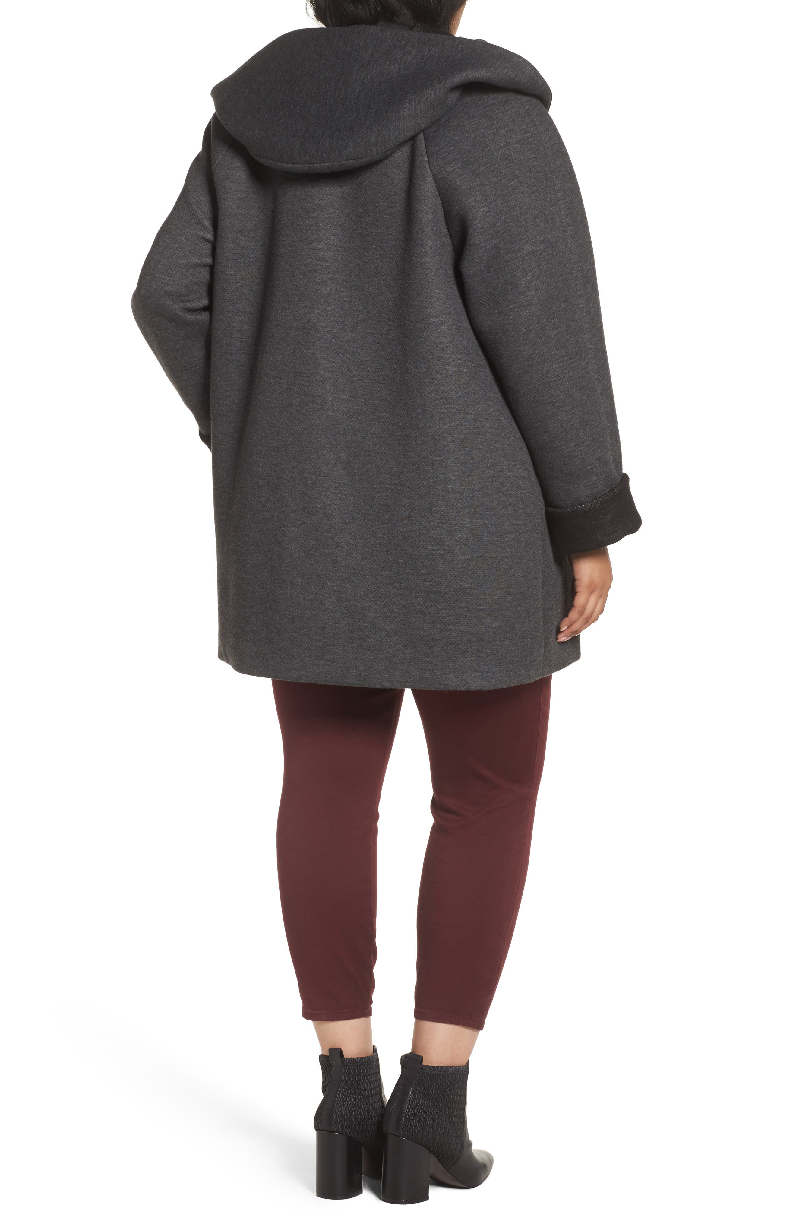 Hooded Double Face Knit Coat,                             Alternate thumbnail 3, color,