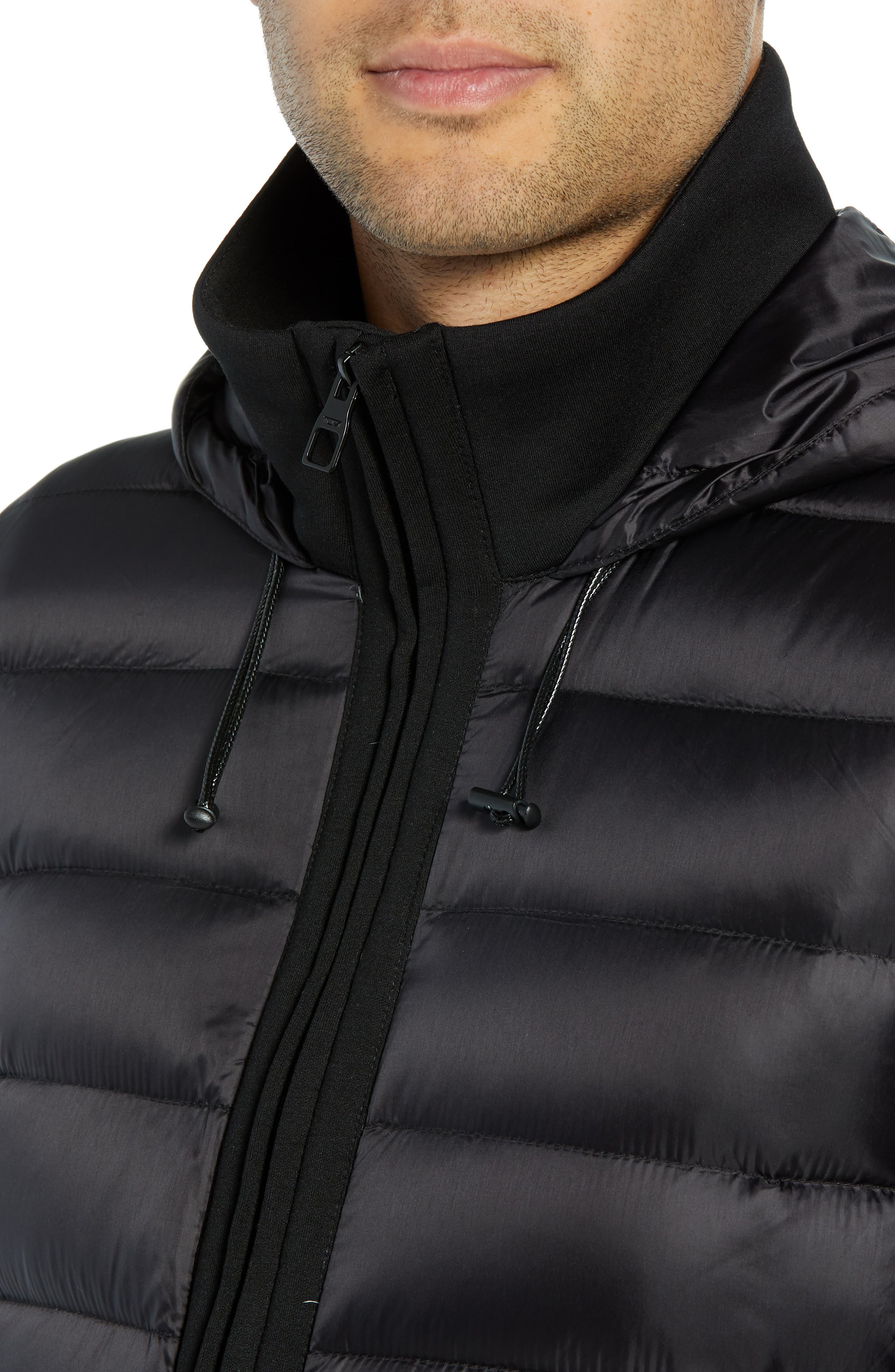 Quilted Down and Neoprene Hooded Jacket,                             Alternate thumbnail 4, color,                             BLACK