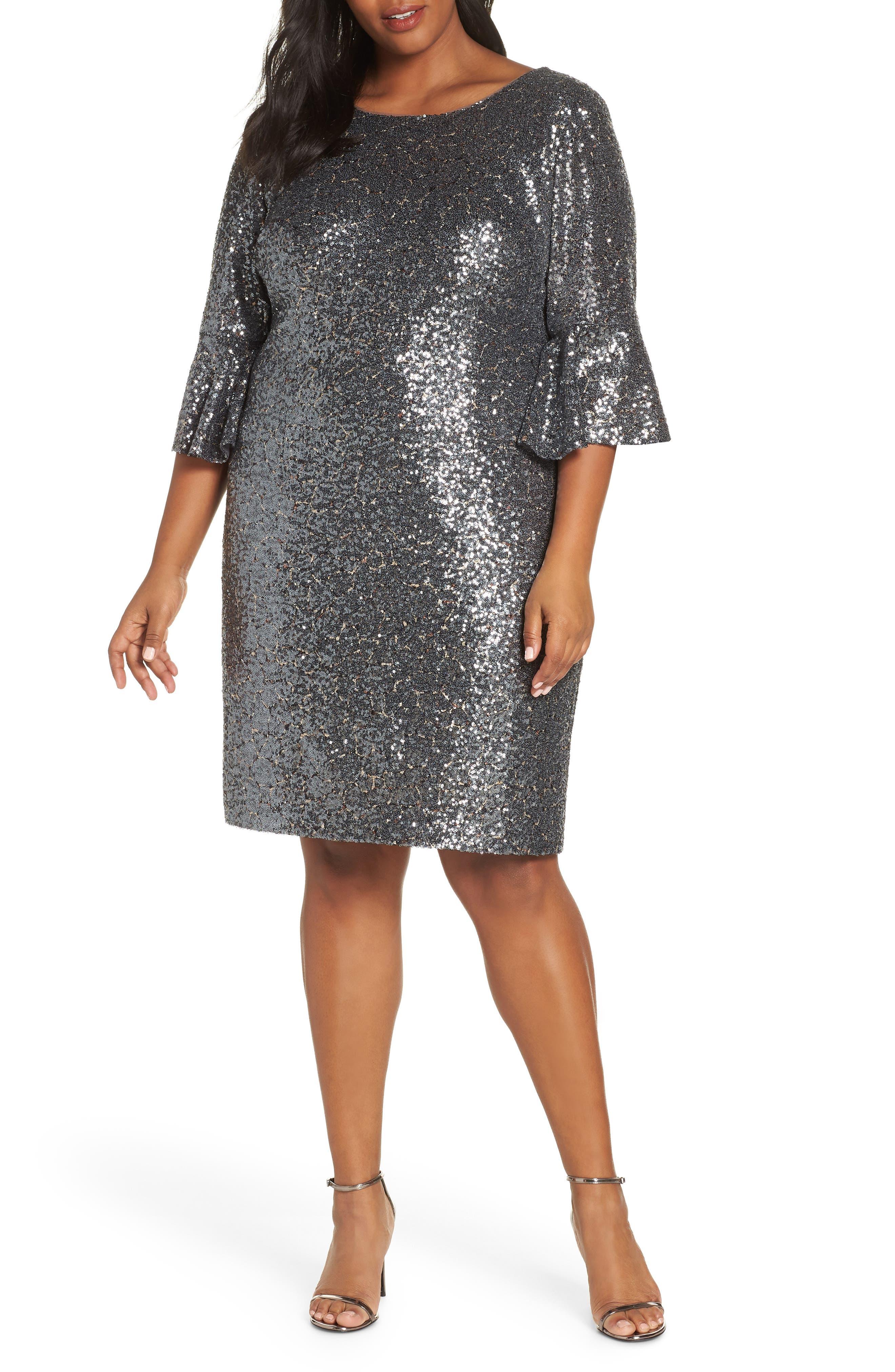 Plus Size Alex Evenings Ruffle Cuff Sequin Cocktail Dress
