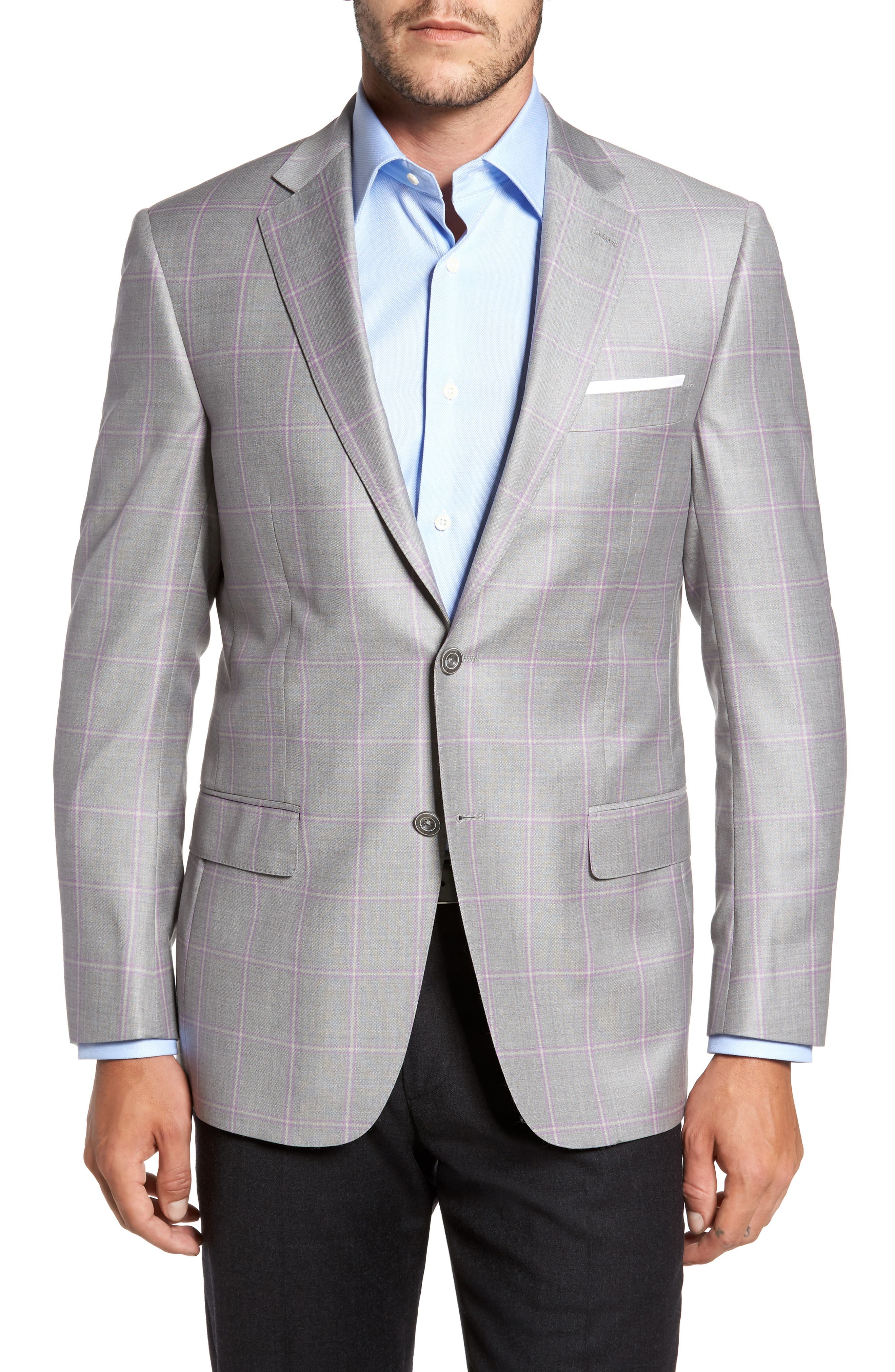 Classic Fit Windowpane Wool Sport Coat,                             Main thumbnail 1, color,                             050