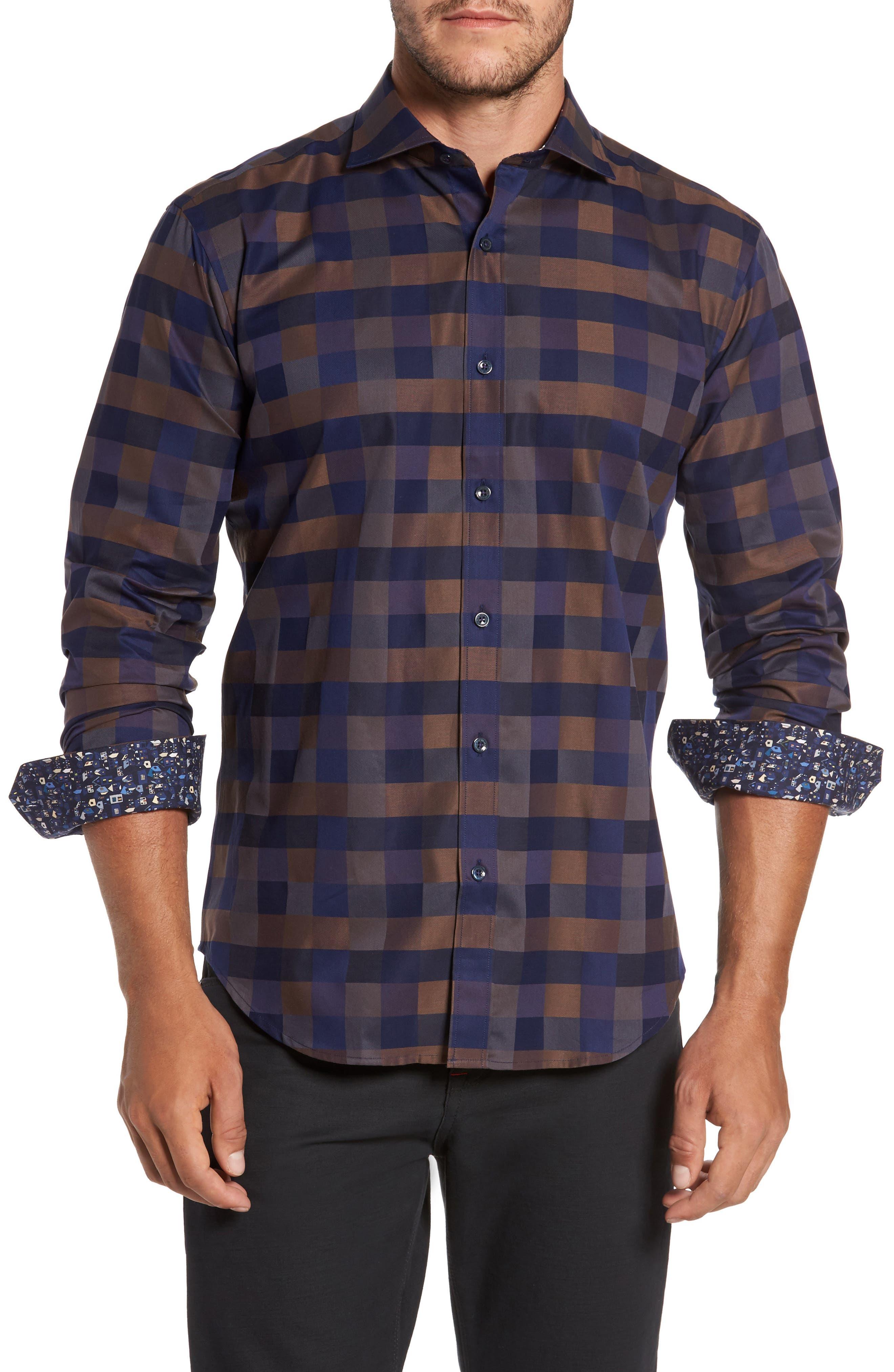 Trim Fit Box Check Sport Shirt,                         Main,                         color, 235