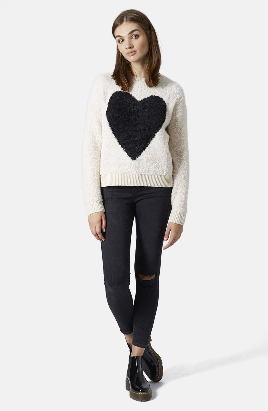 'Babe Heart' Sweater,                             Alternate thumbnail 3, color,                             101