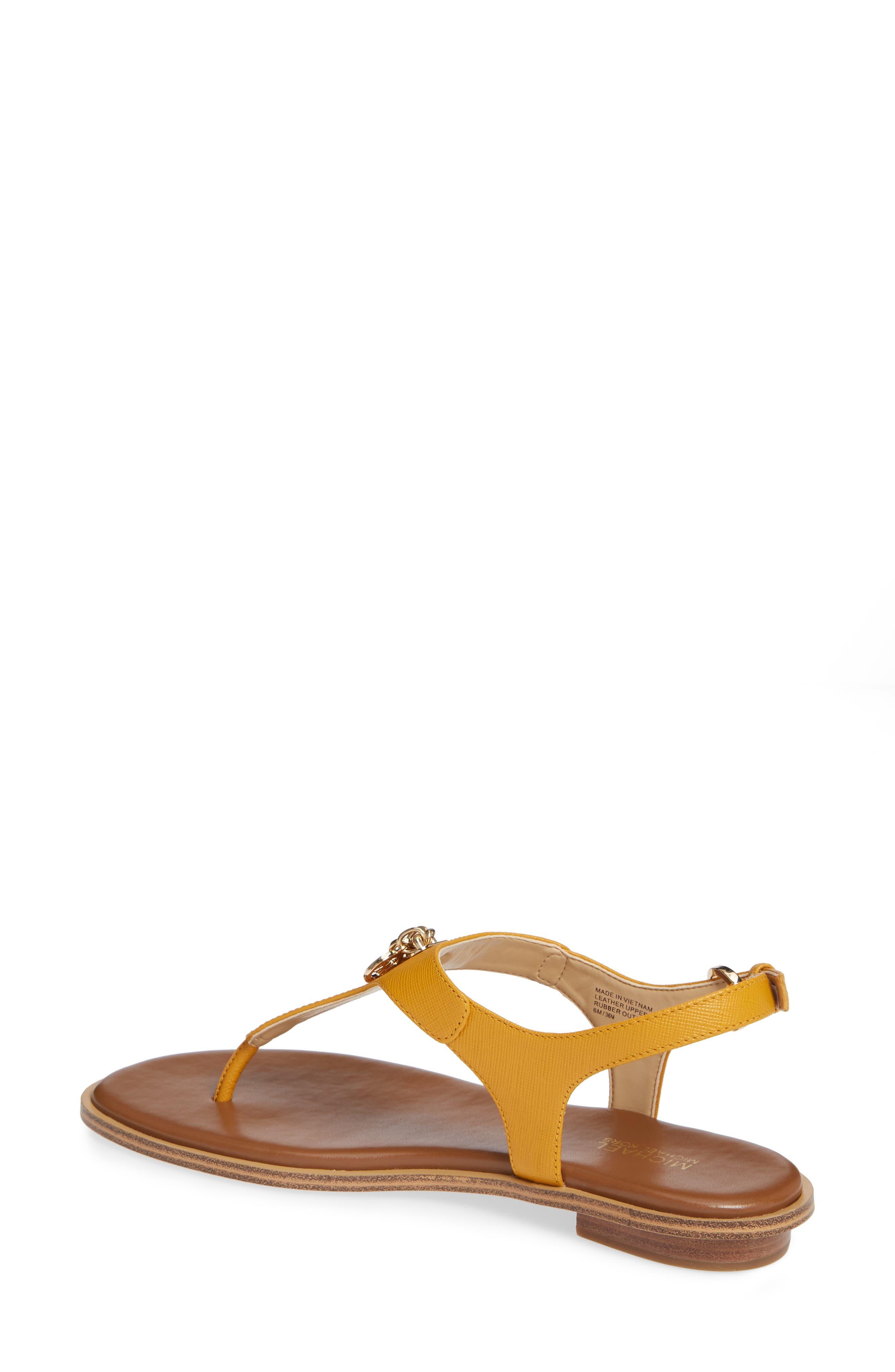 Suki T-Strap Charm Sandal,                             Alternate thumbnail 2, color,                             MARIGOLD LEATHER
