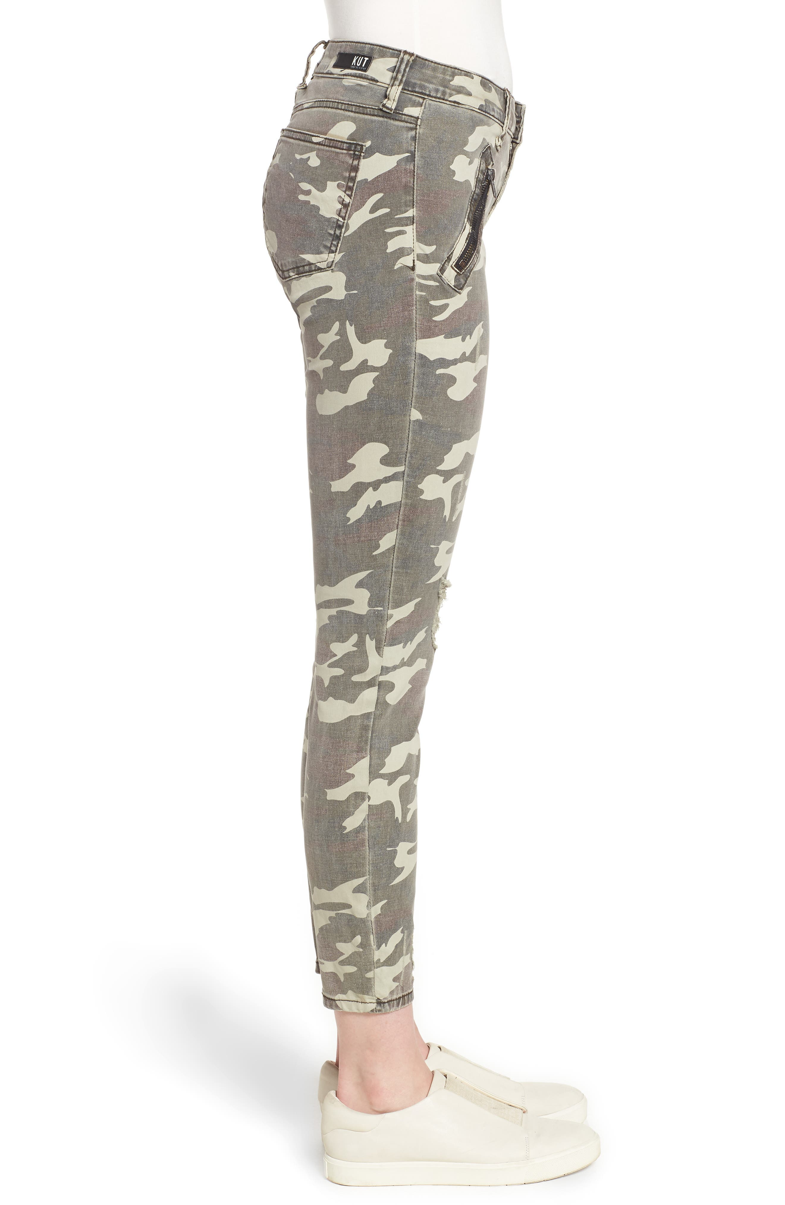 Connie Ankle Skinny Camo Jeans,                             Alternate thumbnail 3, color,                             OLIVE