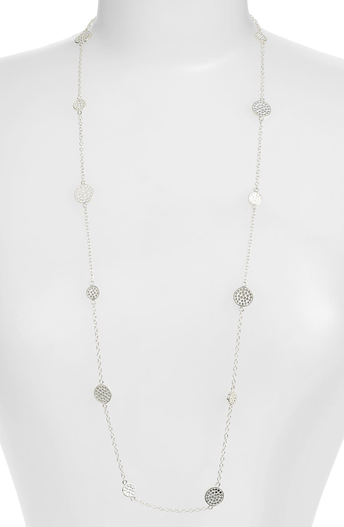 'Gili' Long Station Necklace,                         Main,                         color, SILVER