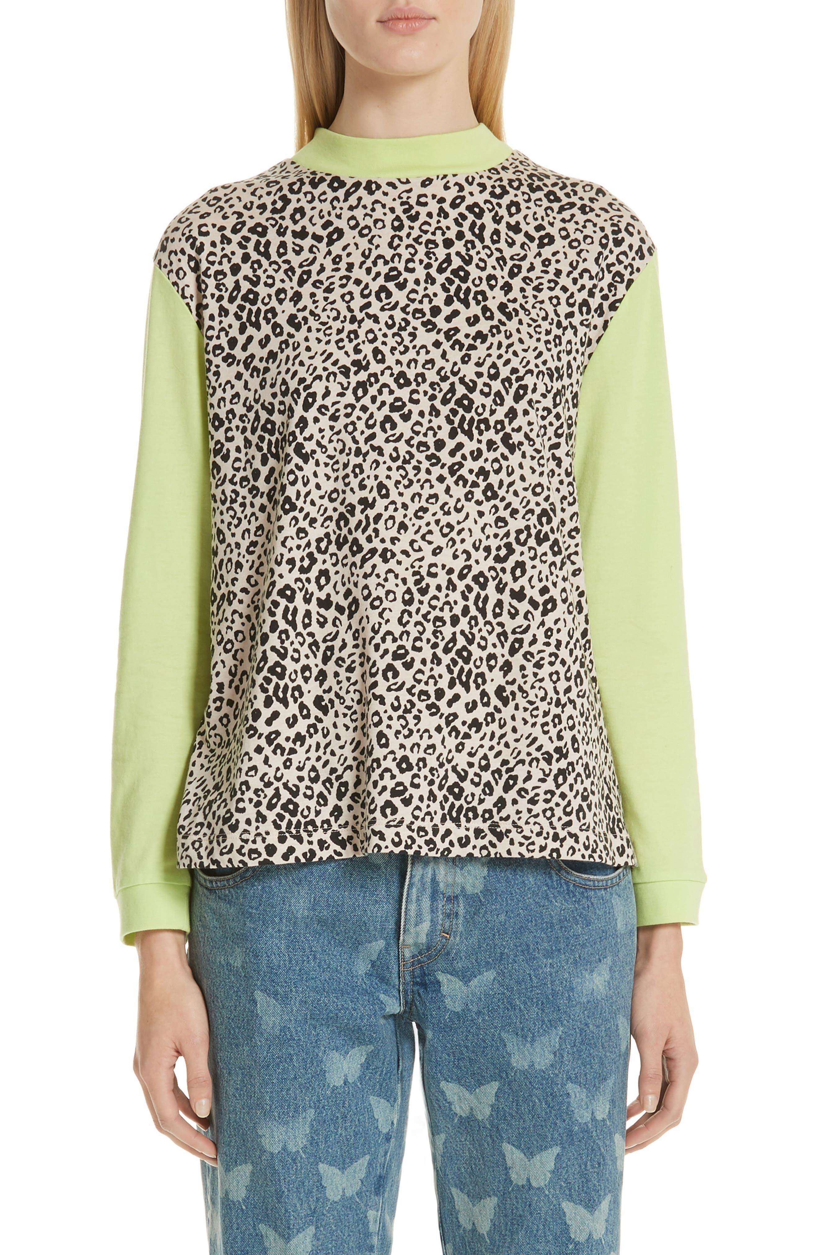 Lewis Leopard & Neon Sweater,                             Main thumbnail 1, color,                             SNOW LEOPARD