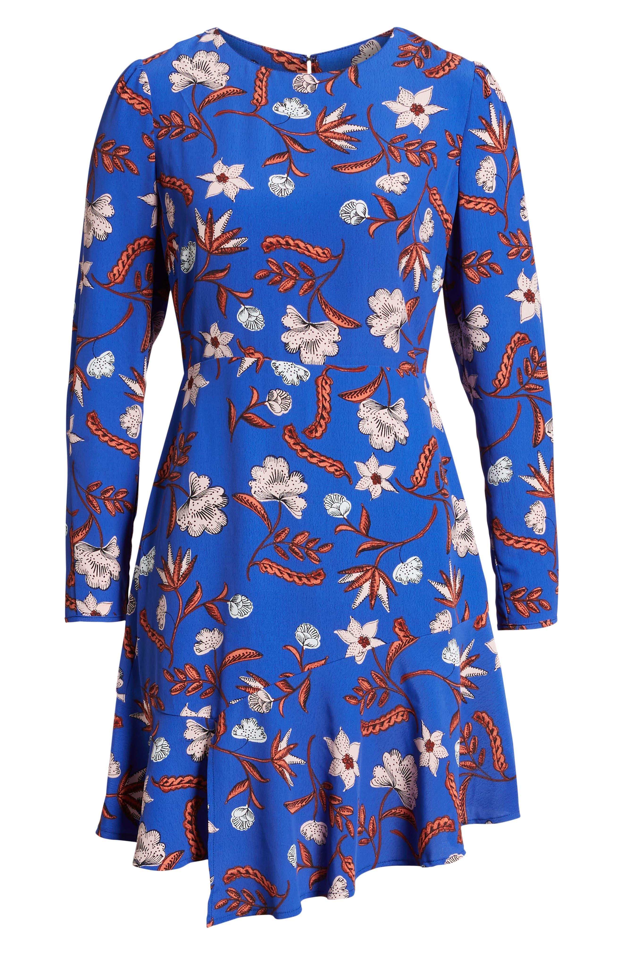 Asymmetrical Ruffle Hem Dress,                             Alternate thumbnail 7, color,                             BLUE FLORAL