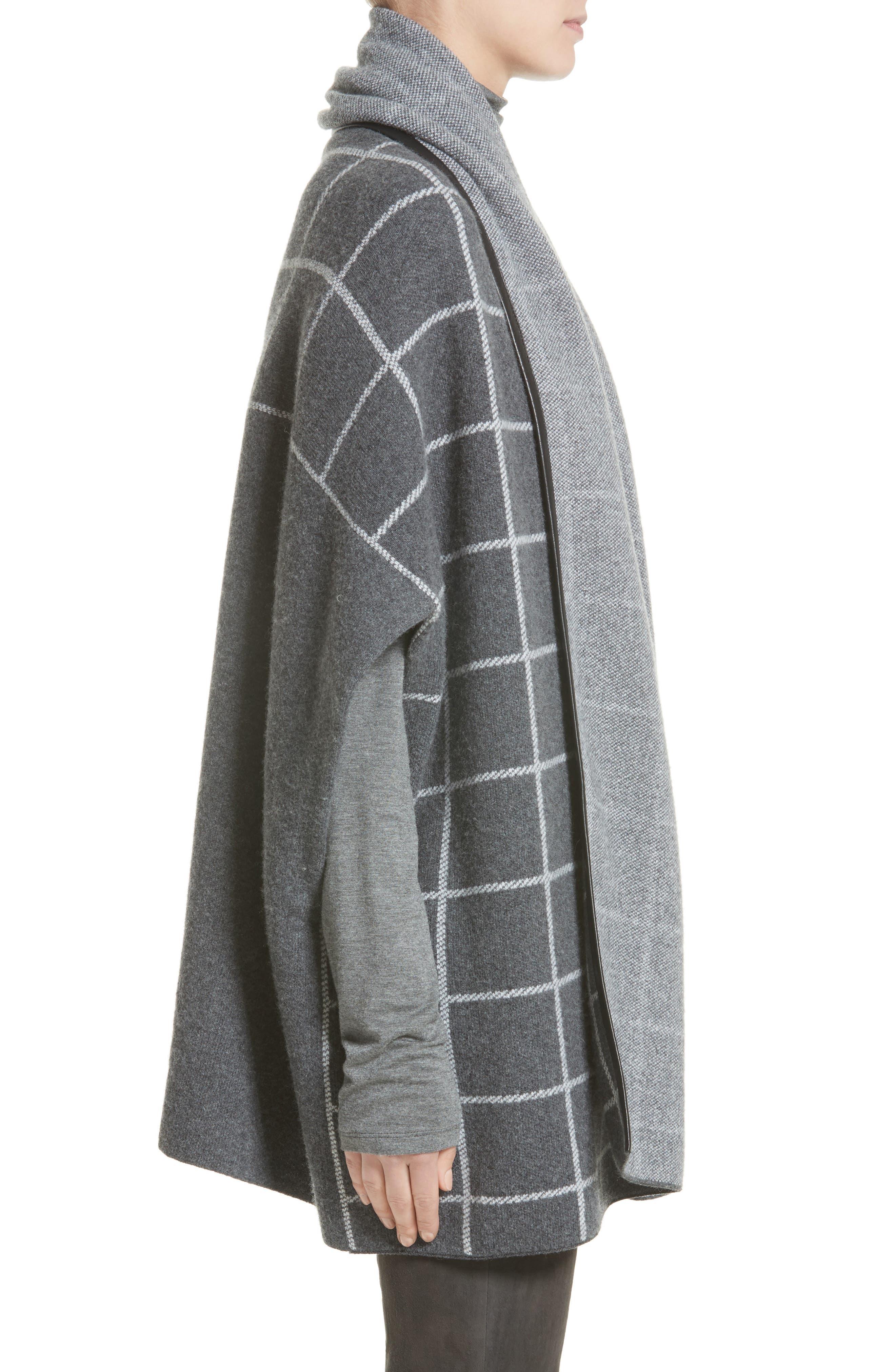 Leather Trim Windowpane Felted Wool Blend Cardigan,                             Alternate thumbnail 3, color,