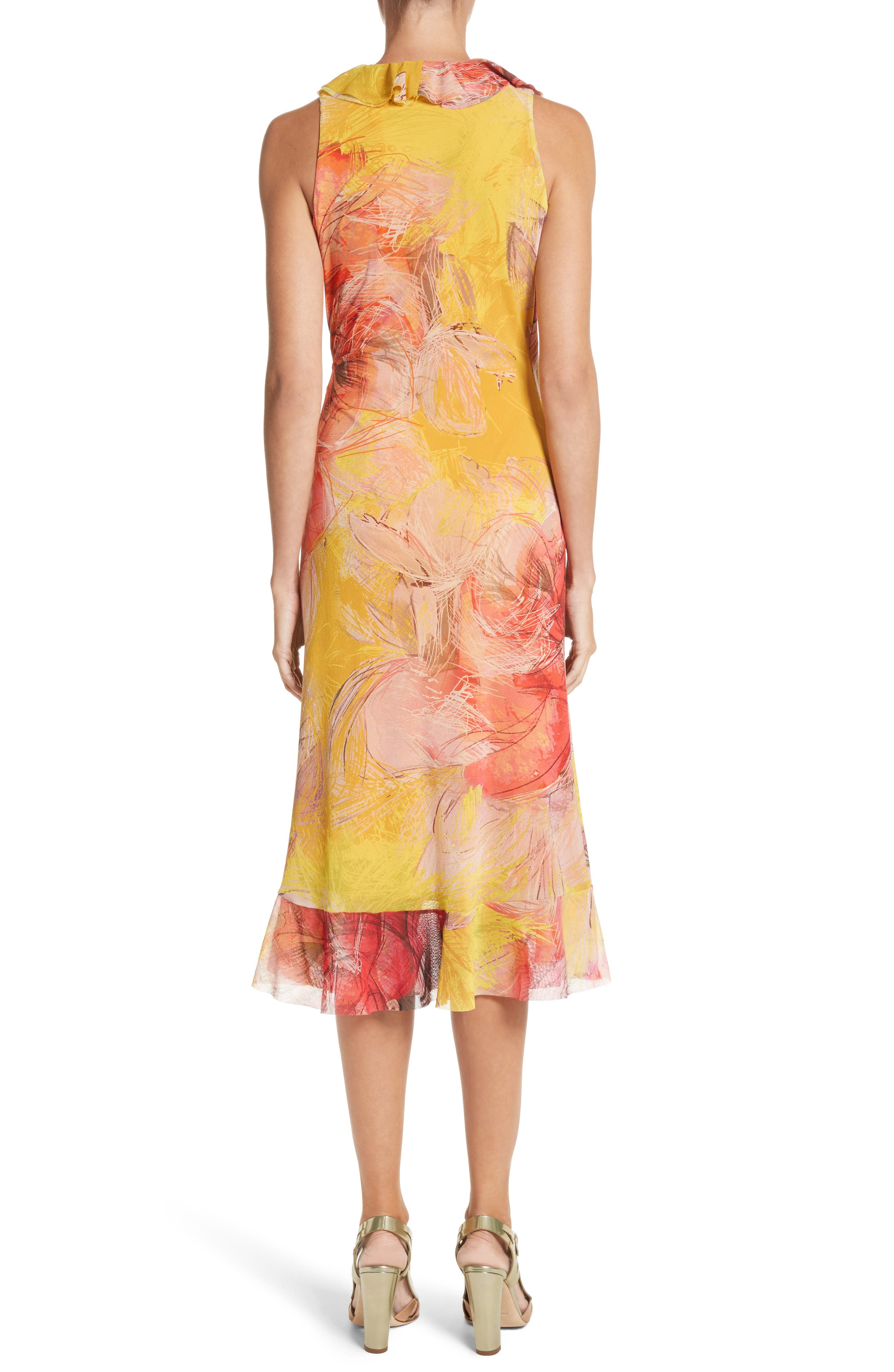 Print Tulle Ruffle Wrap Dress,                             Alternate thumbnail 2, color,                             723
