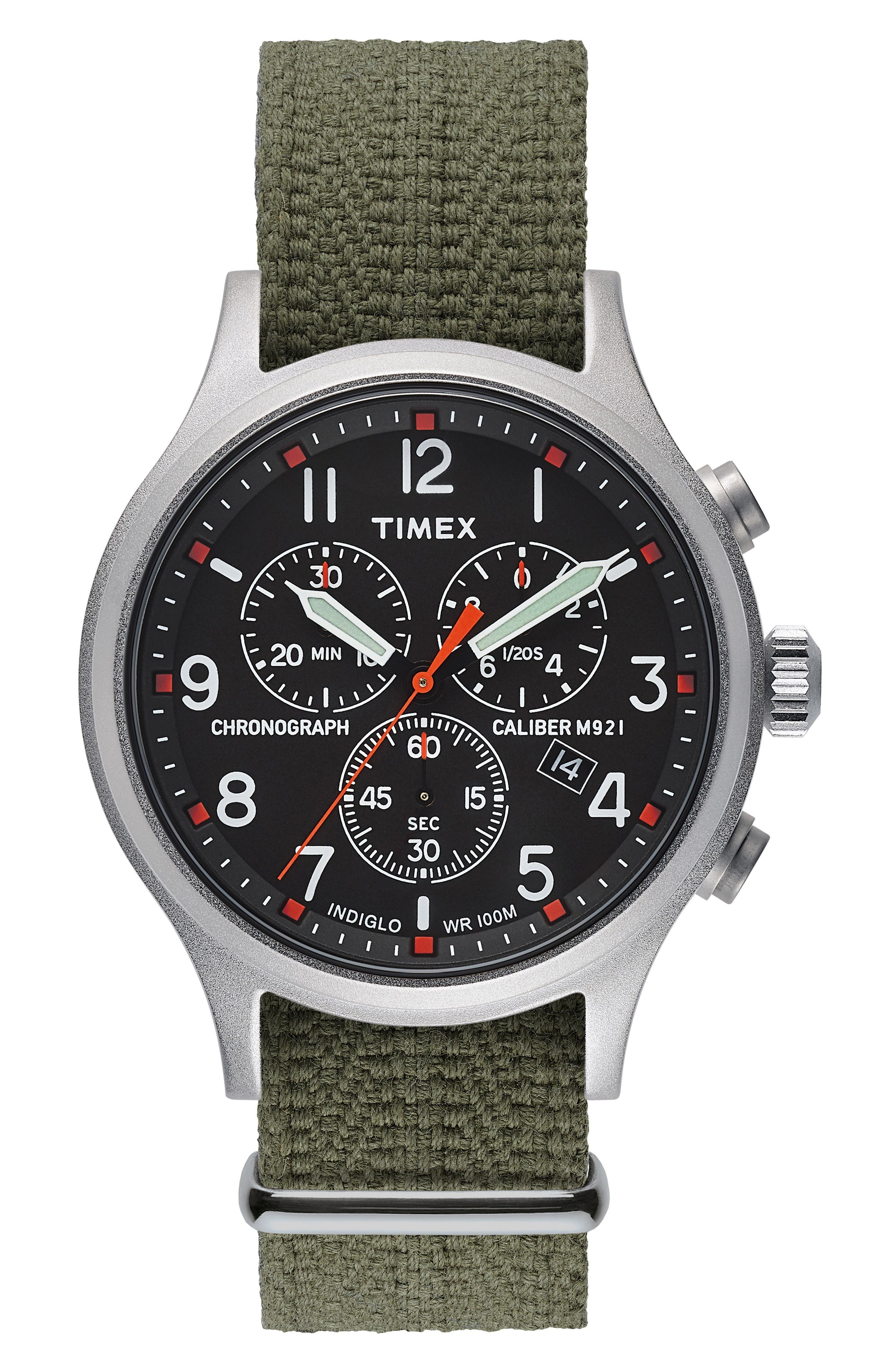 Allied Chronograph Woven Strap Watch, 42mm,                         Main,                         color, SILVER/ BLACK/ GREEN