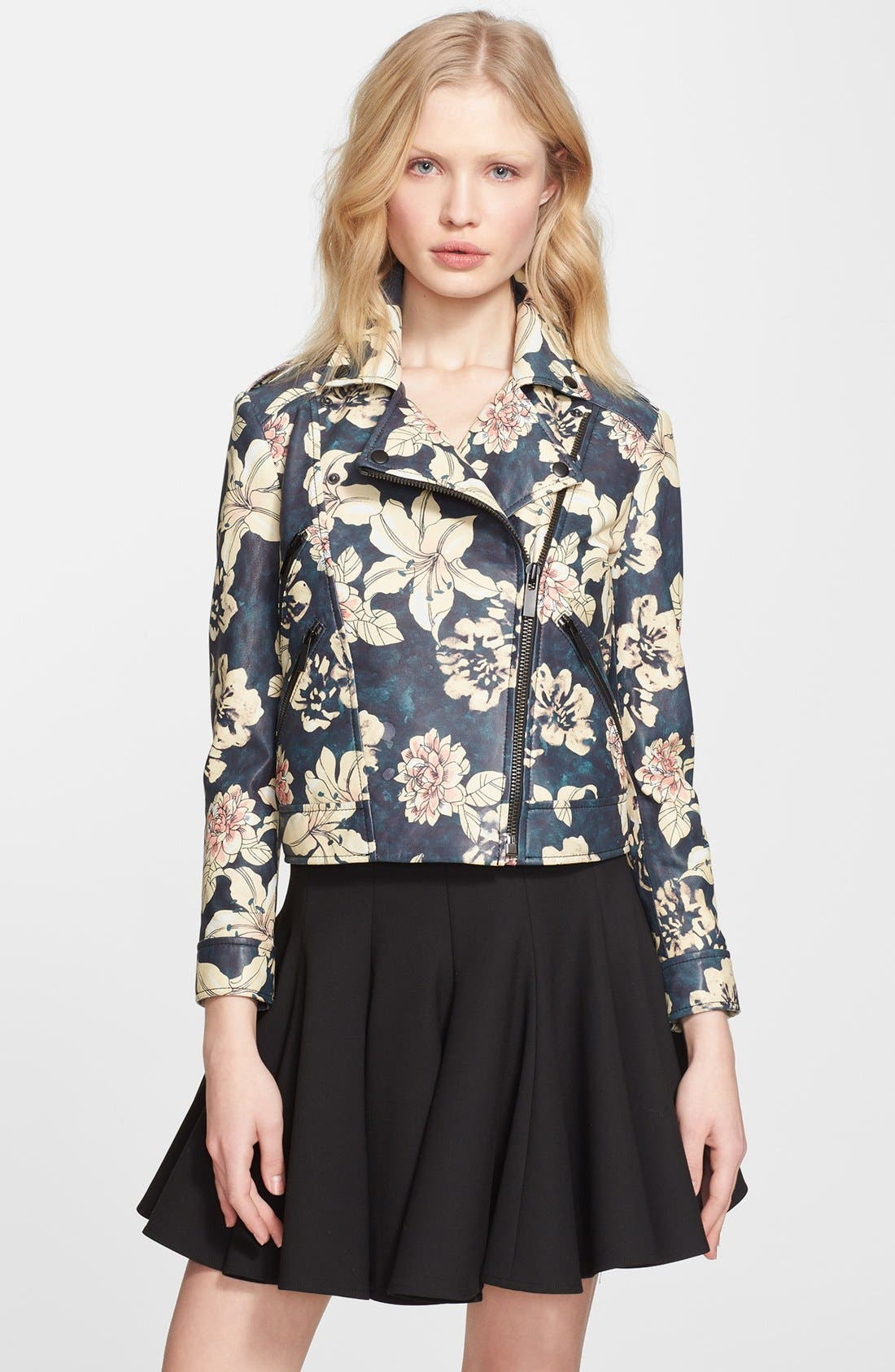 ELIZABETH AND JAMES 'Lily Erwan' Print Leather Jacket, Main, color, 001