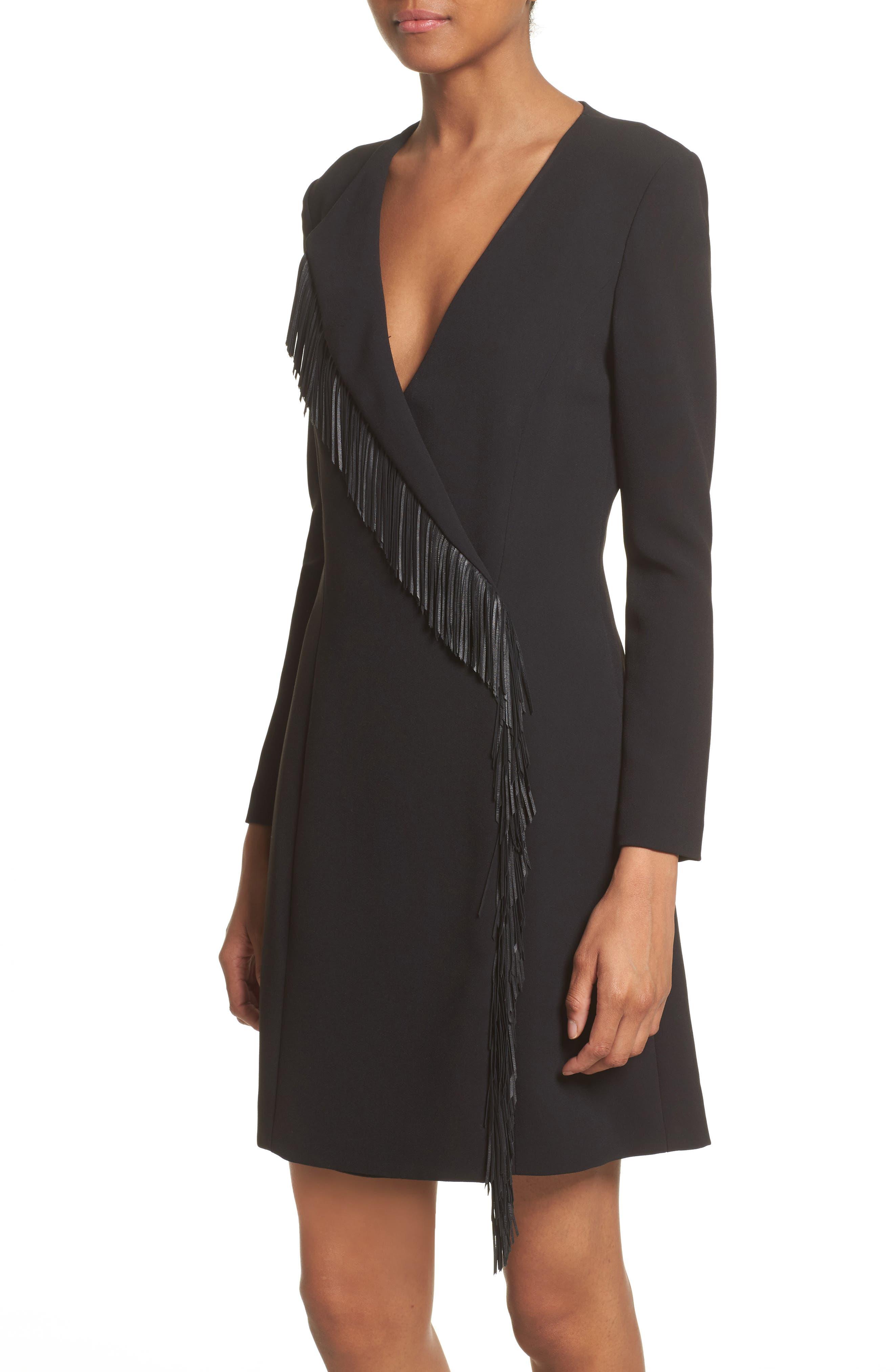 Leather Fringe Wrap Dress,                             Alternate thumbnail 4, color,                             001