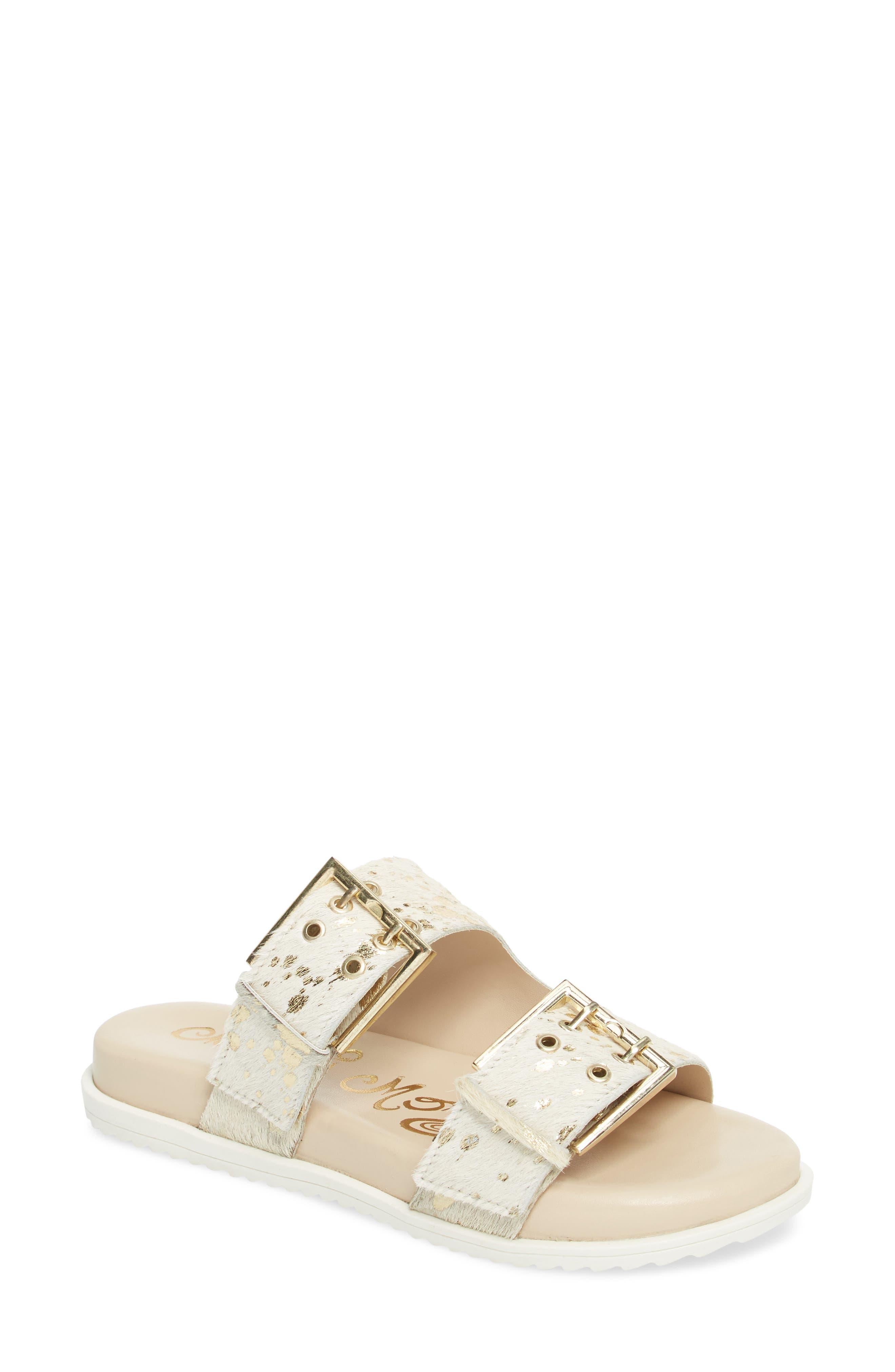Genuine Calf Hair Double Strap Sandal,                         Main,                         color,