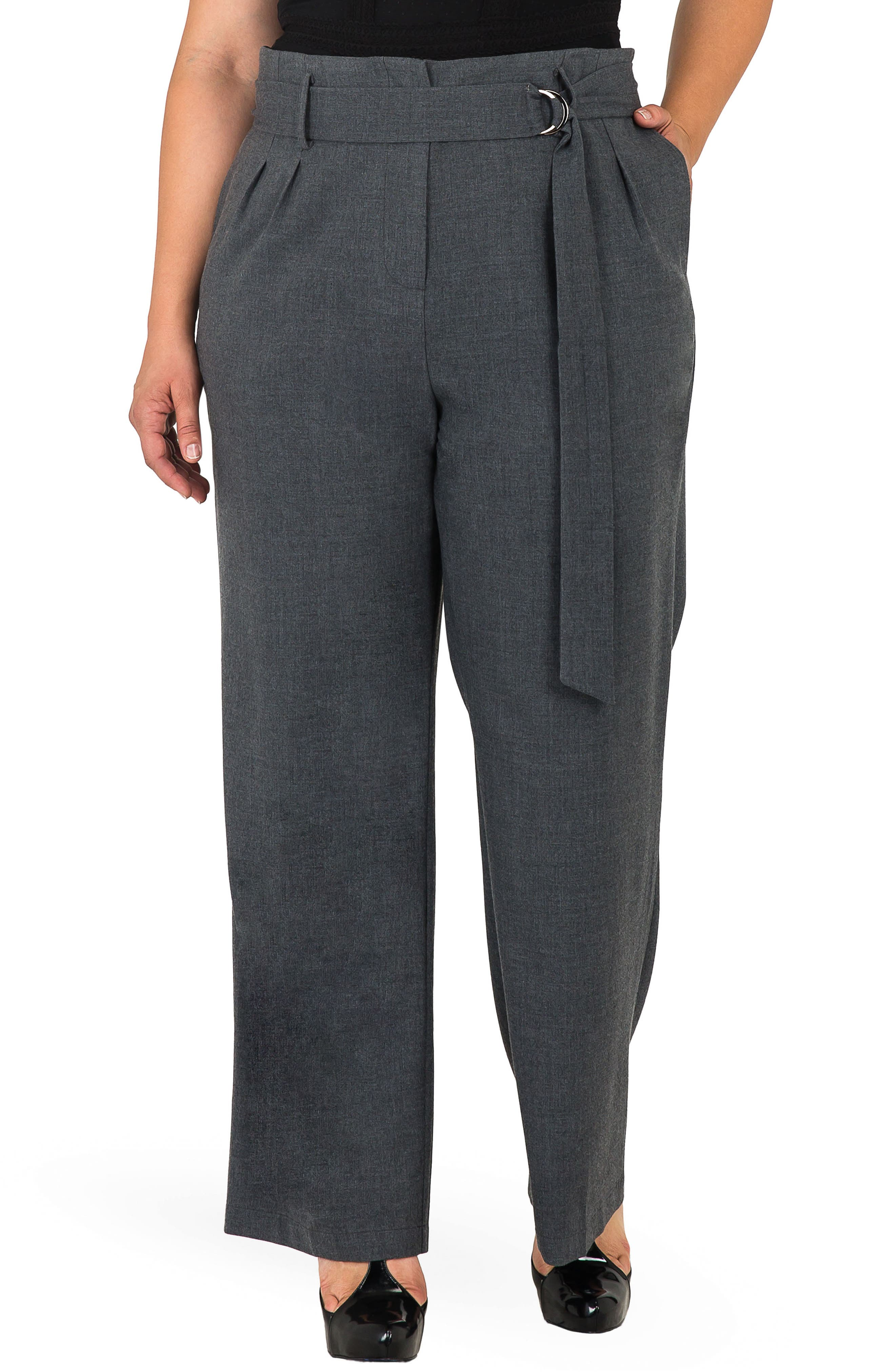 Franchesca High Rise Paperbag Trousers,                         Main,                         color, CHARCOAL