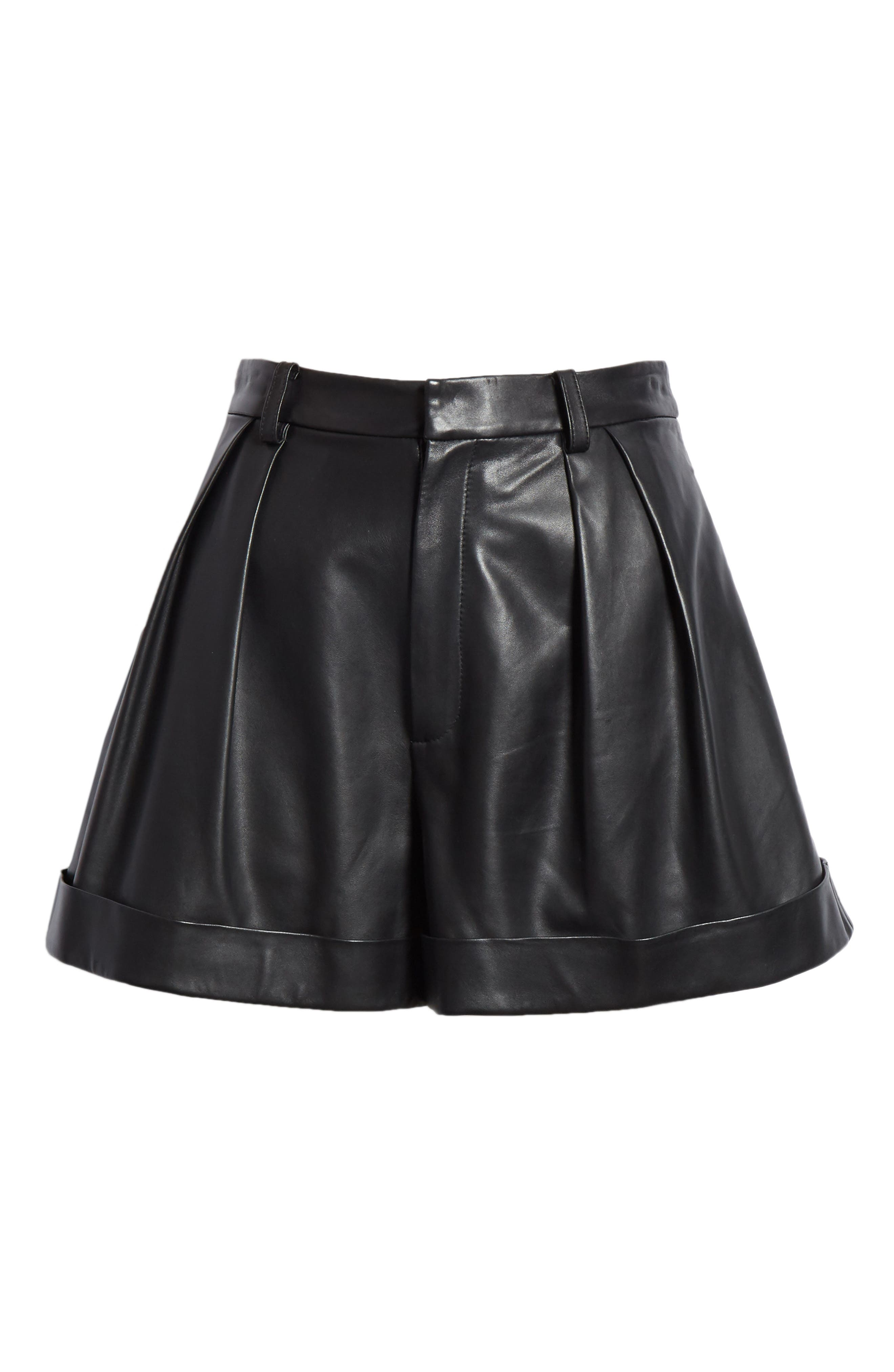 Conry Leather Pleated Cuff Shorts,                             Alternate thumbnail 6, color,                             BLACK