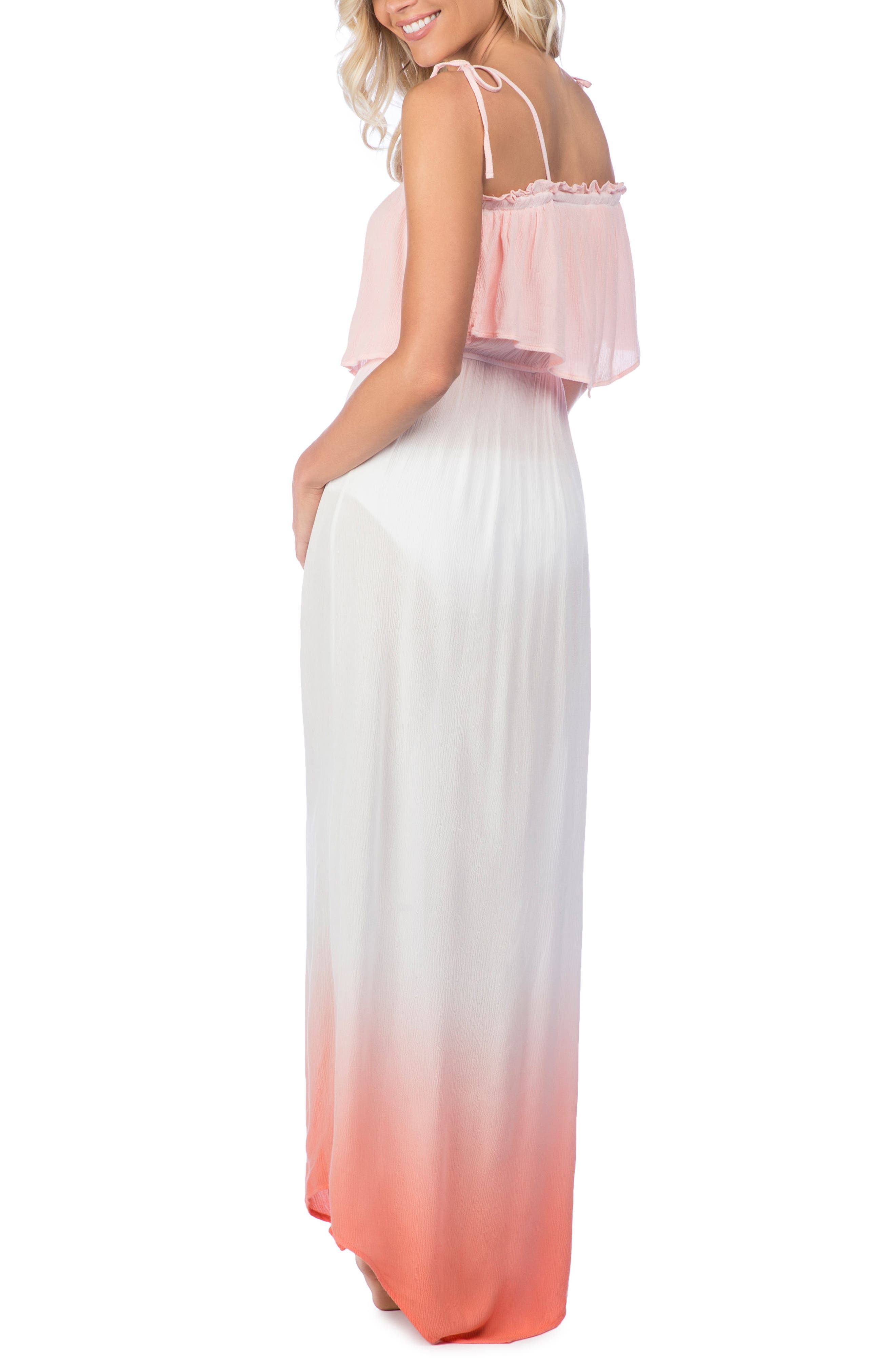 Paloma Dip Dye Cover-Up Maxi Dress,                             Alternate thumbnail 4, color,