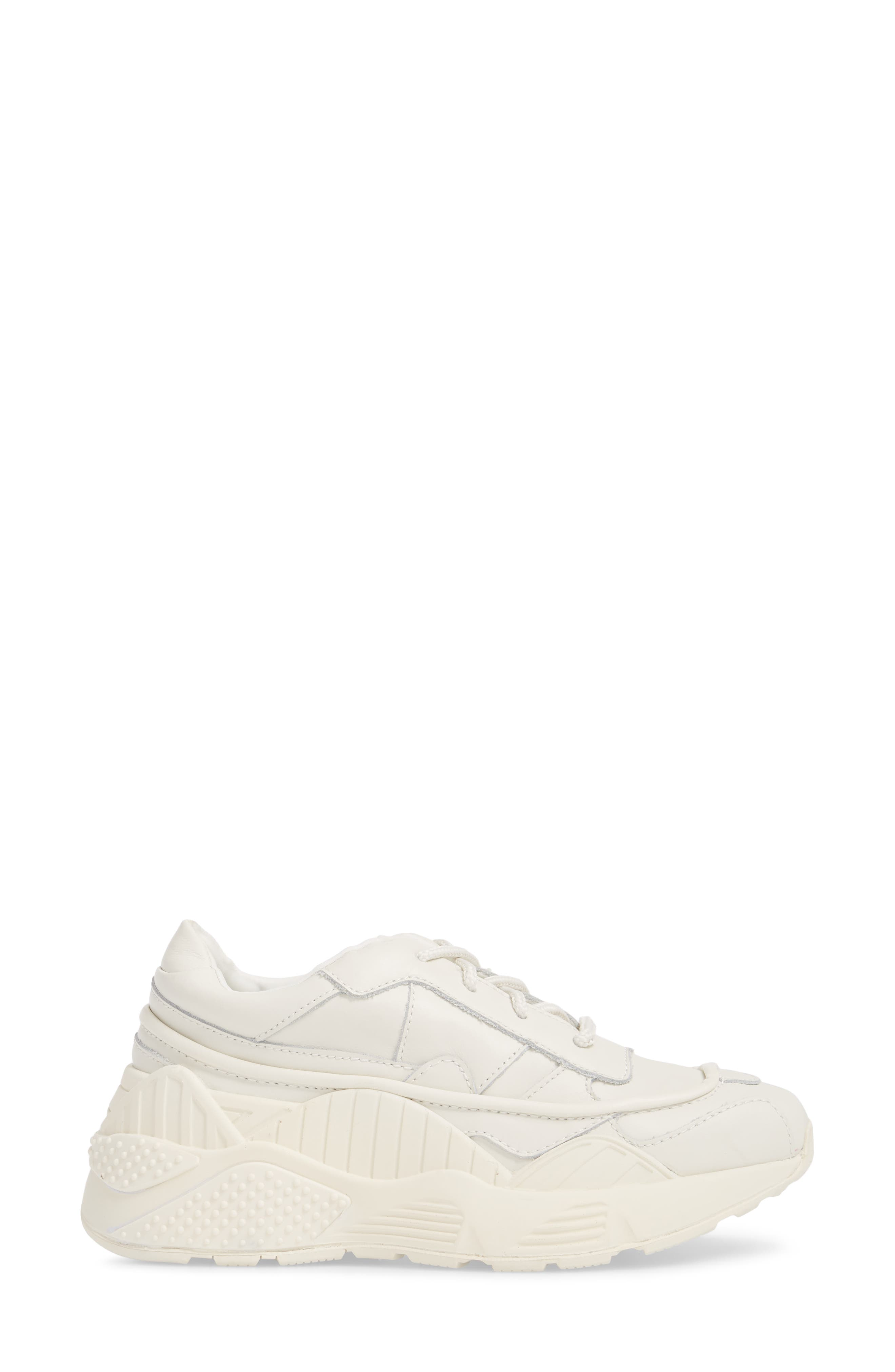 HMDI Platform Sneaker,                             Alternate thumbnail 3, color,                             WHITE LEATHER