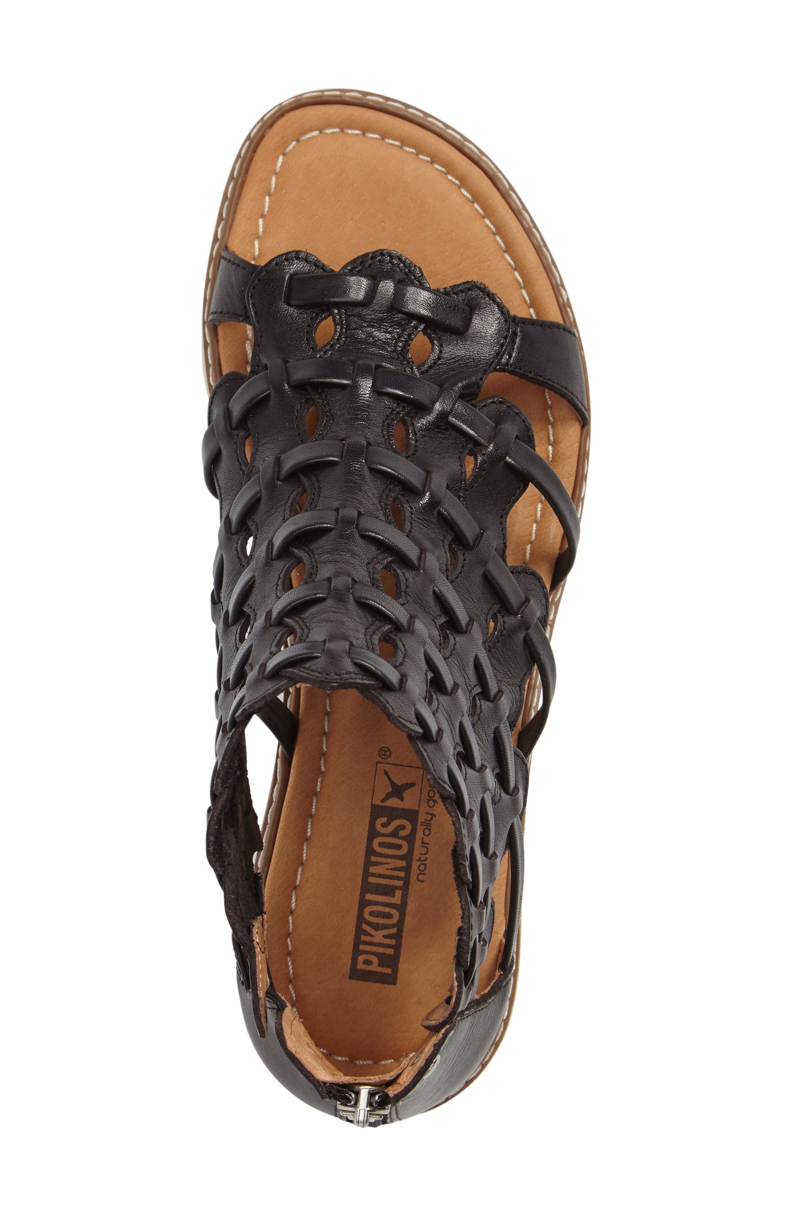 Alcudia Sandal,                             Alternate thumbnail 3, color,                             BLACK LEATHER