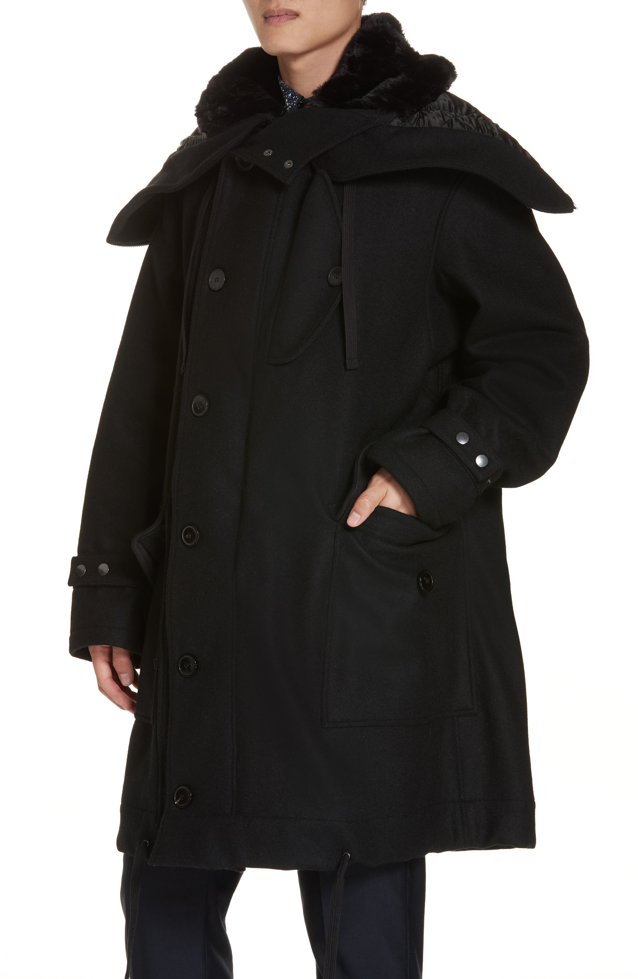 Verreli Hooded Parka with Faux Fur Trim,                             Alternate thumbnail 5, color,                             BLACK 900