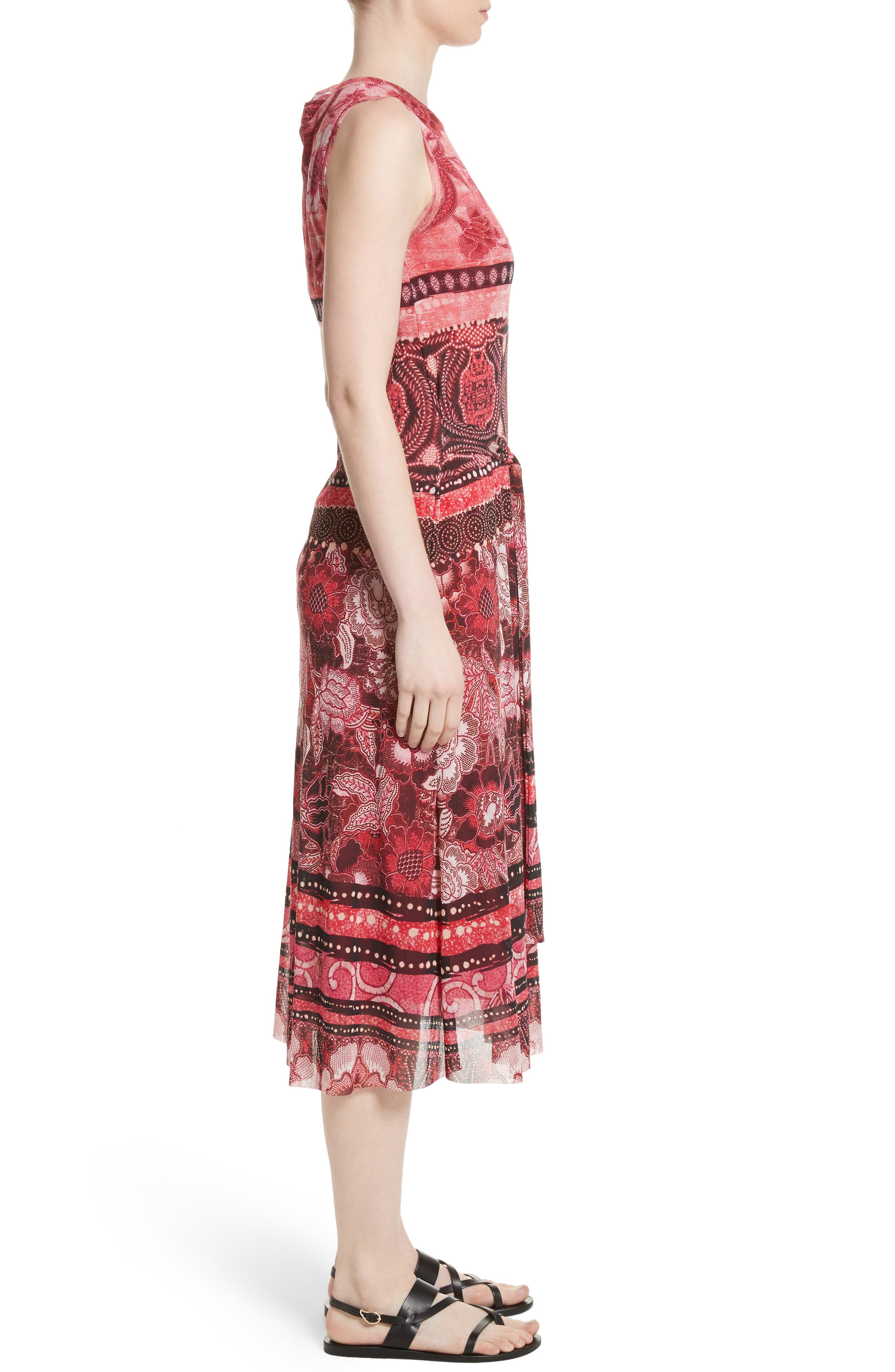 Print Tulle Midi Dress,                             Alternate thumbnail 3, color,                             691
