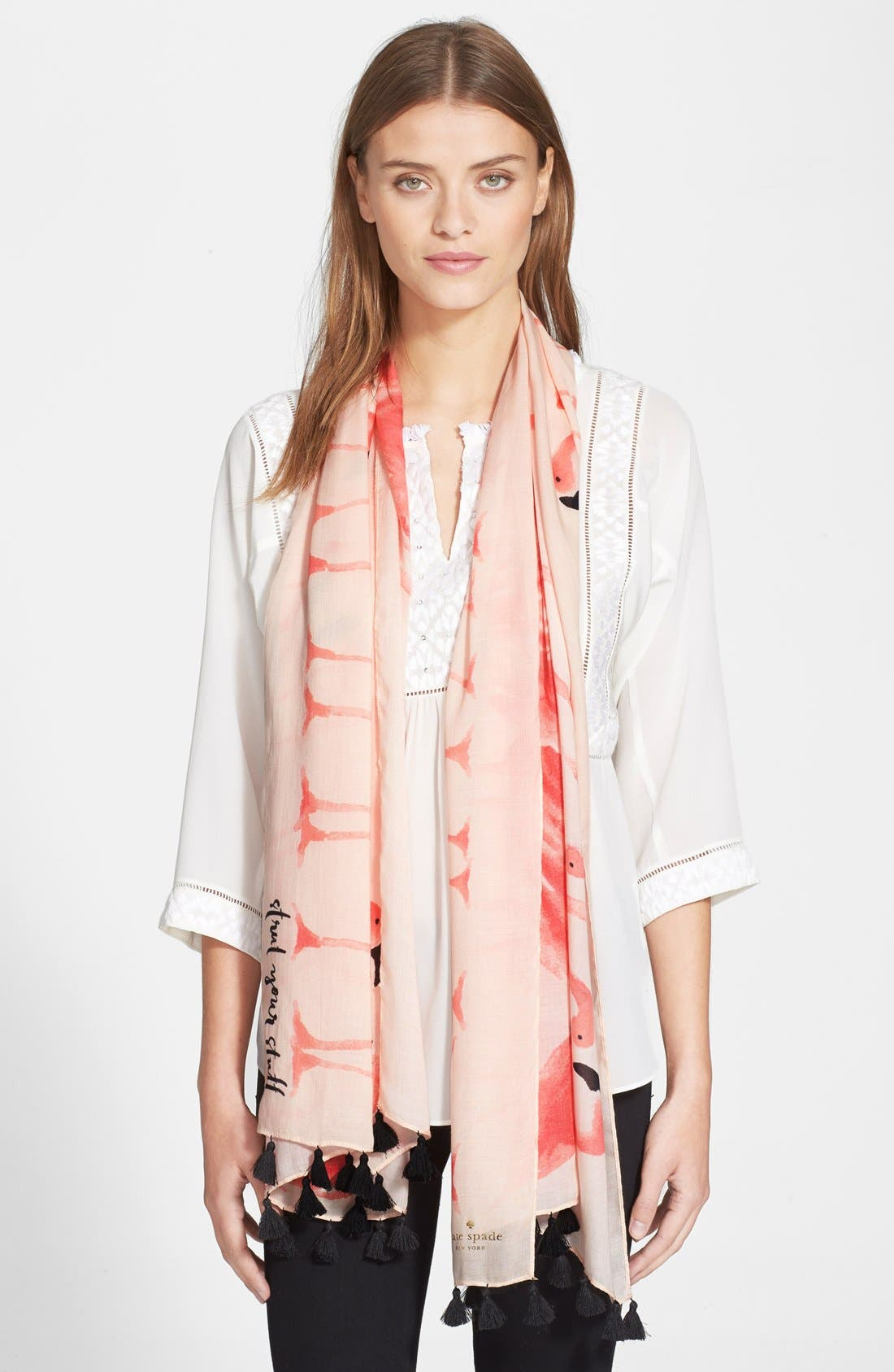 'flamingo' fringe scarf,                             Main thumbnail 1, color,                             680