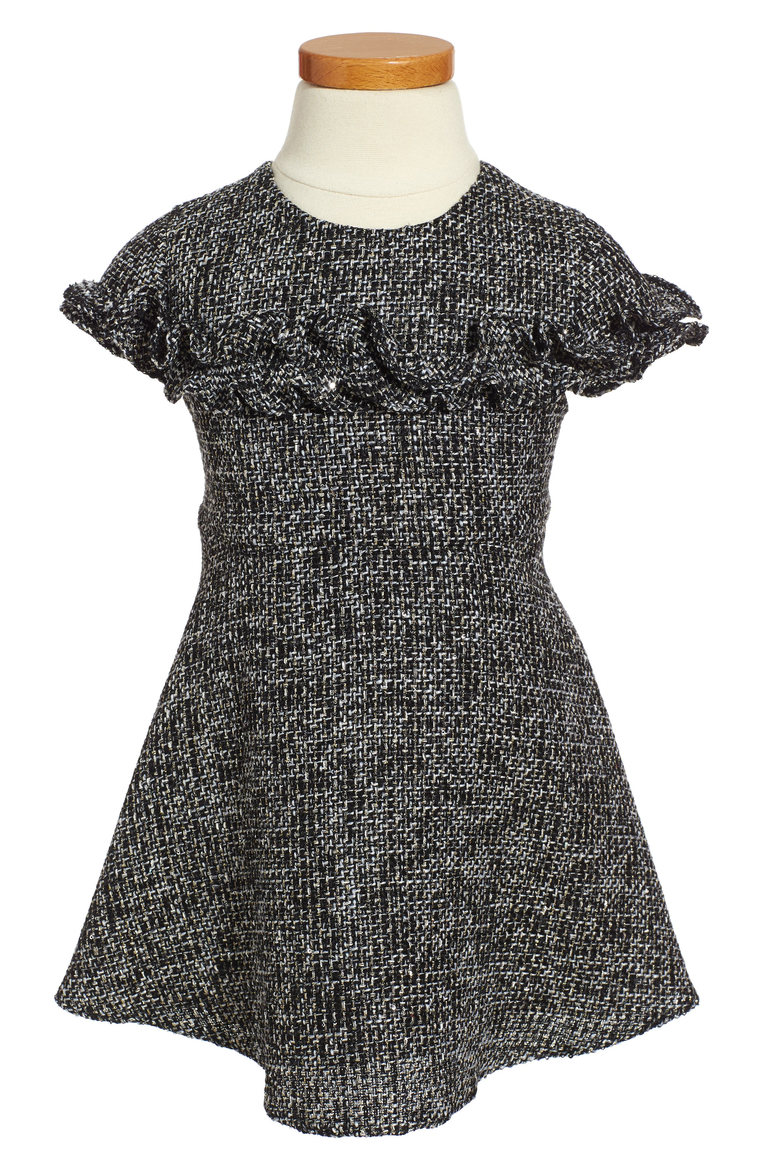 Sequin Tweed Dress,                             Main thumbnail 1, color,                             001