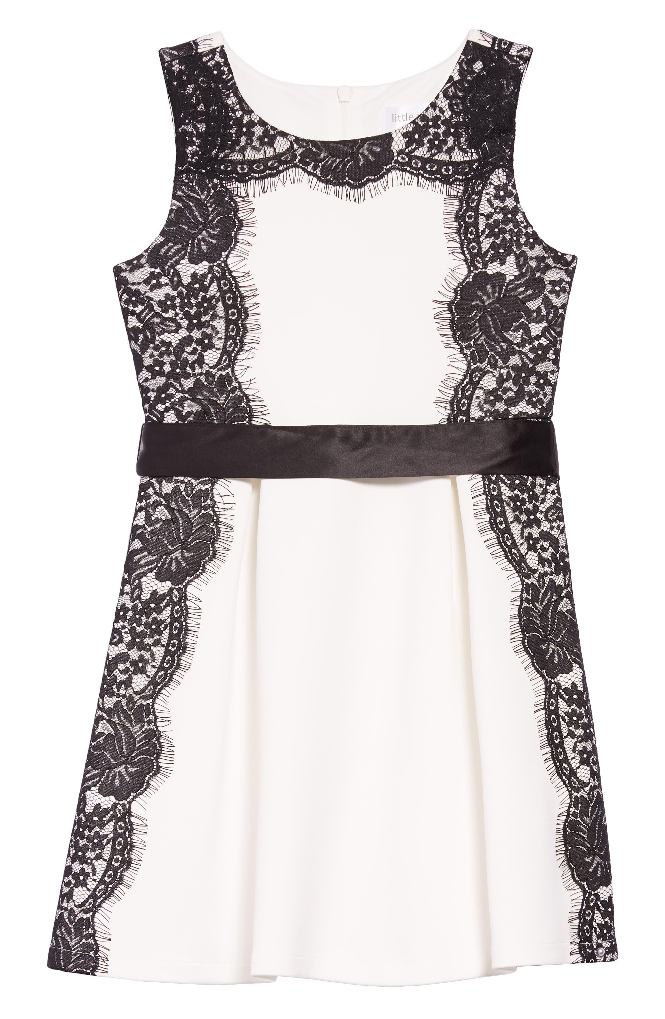 Lace Trim Skater Dress,                             Main thumbnail 1, color,                             WHITE