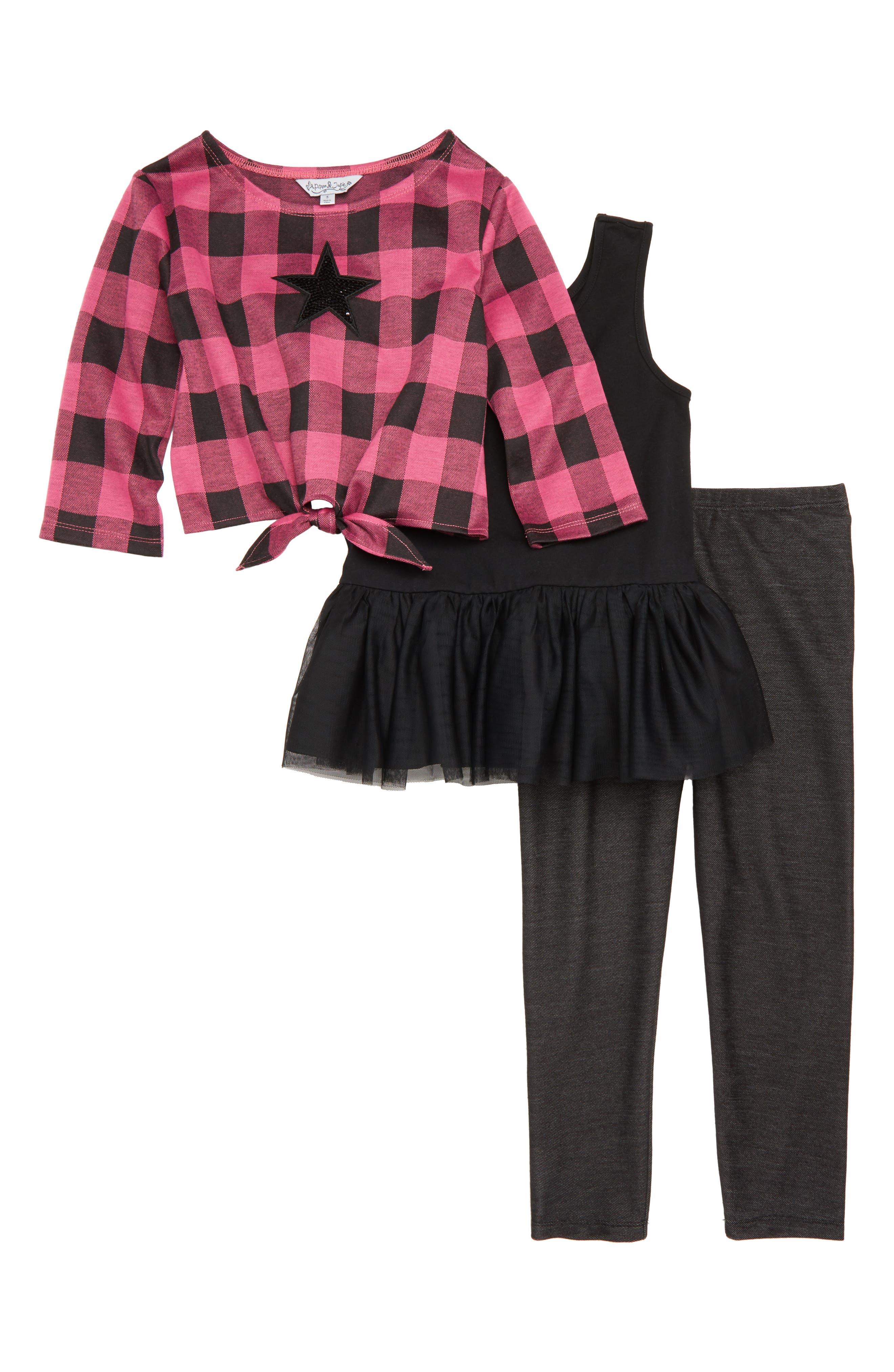 Sequin Star Top, Tutu Dress & Leggings Set,                         Main,                         color, 663