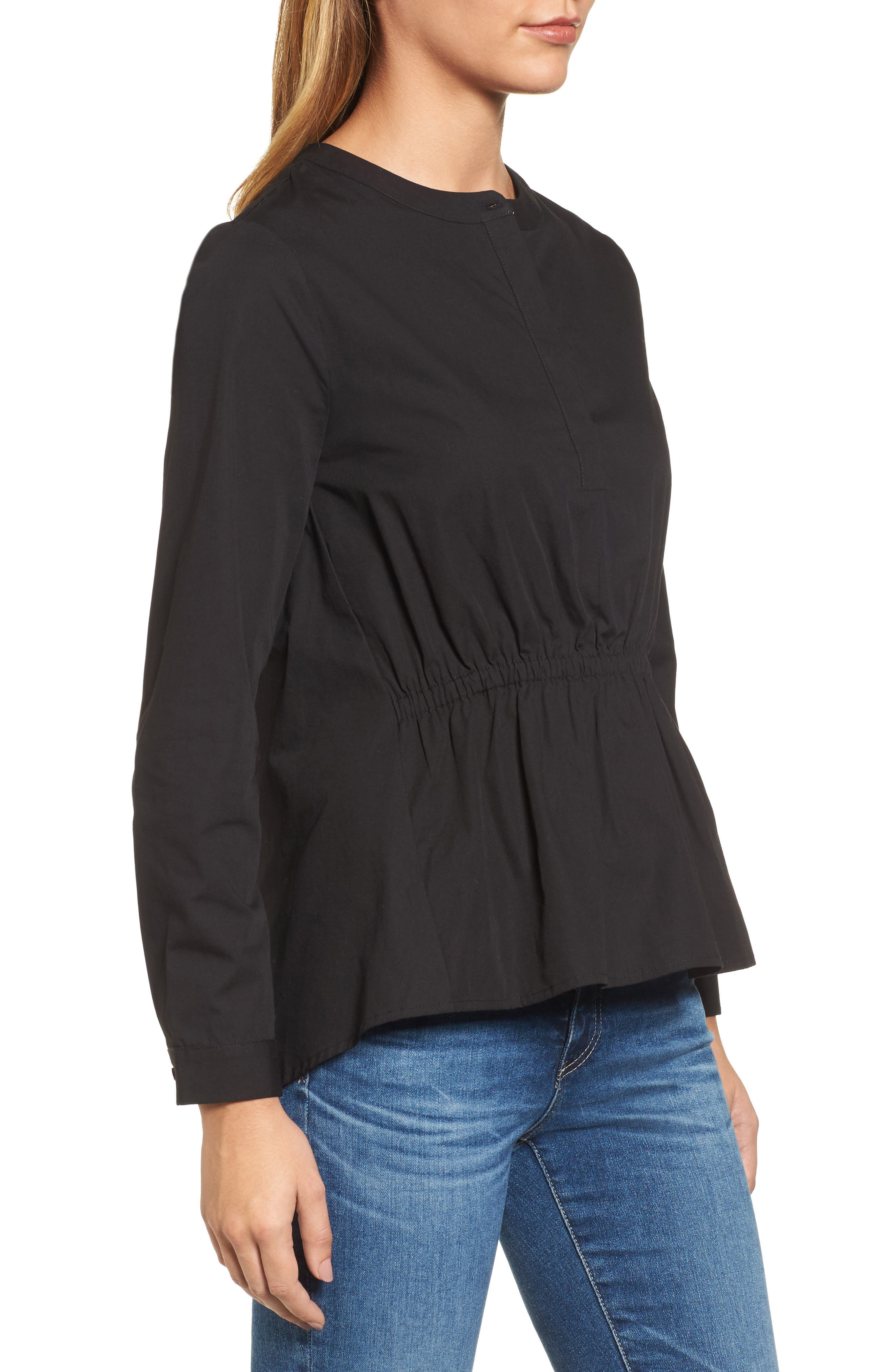 Cinched Front Peplum Top,                             Alternate thumbnail 3, color,                             001